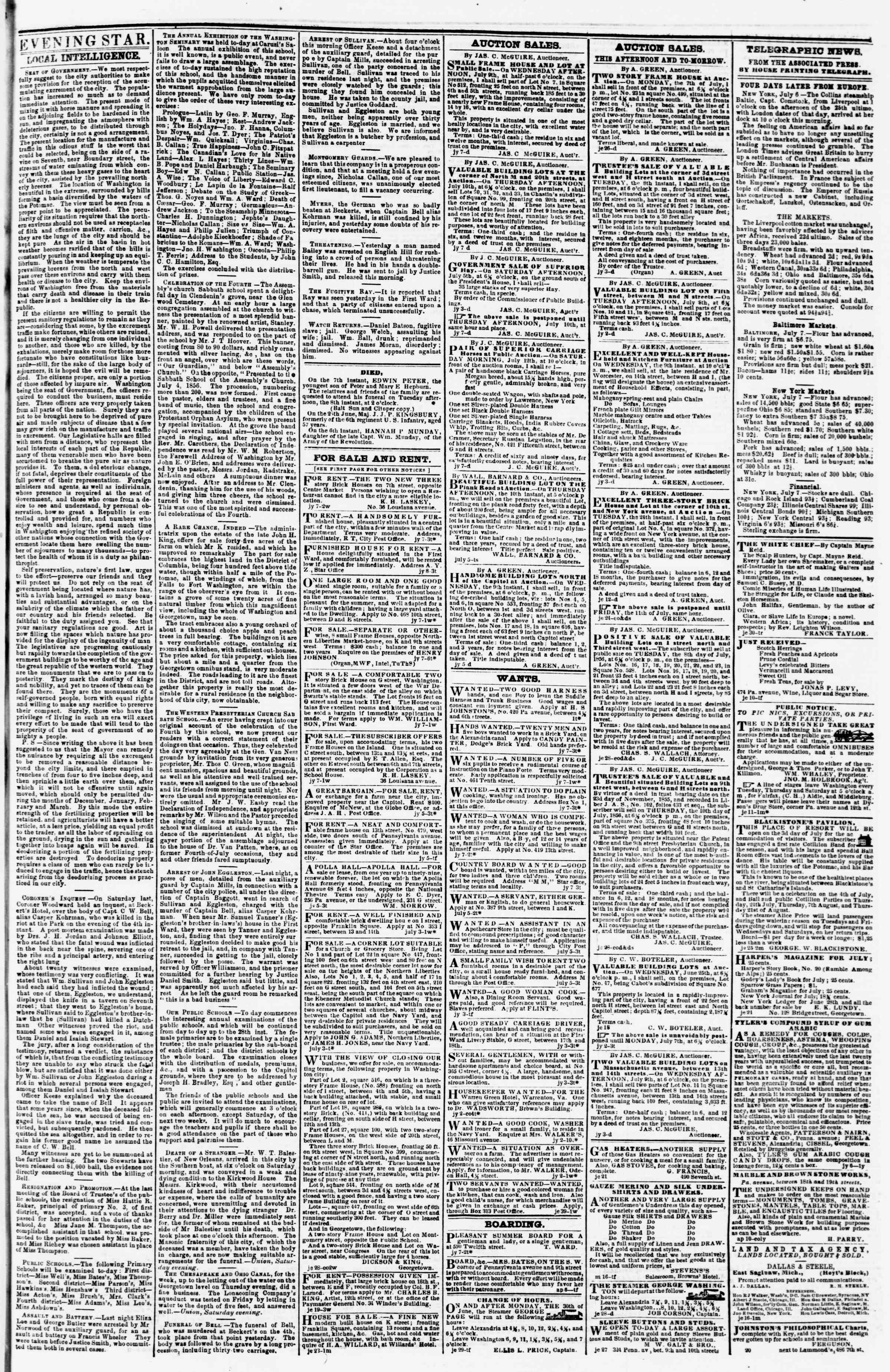 Newspaper of Evening Star dated July 7, 1856 Page 3