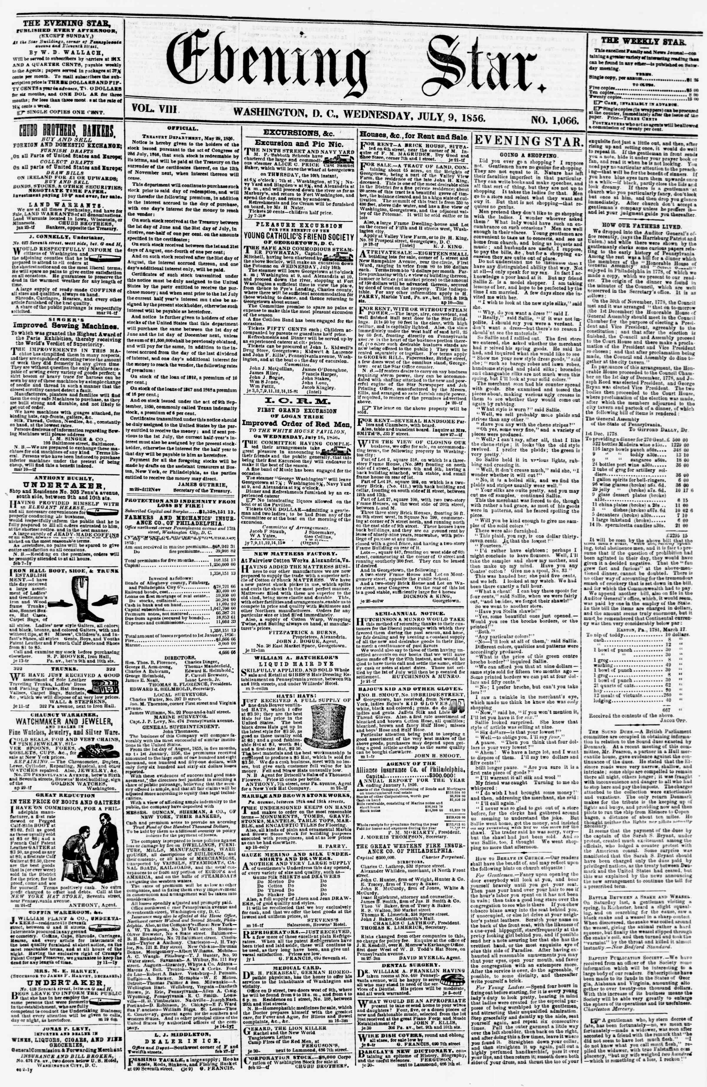 Newspaper of Evening Star dated July 9, 1856 Page 1