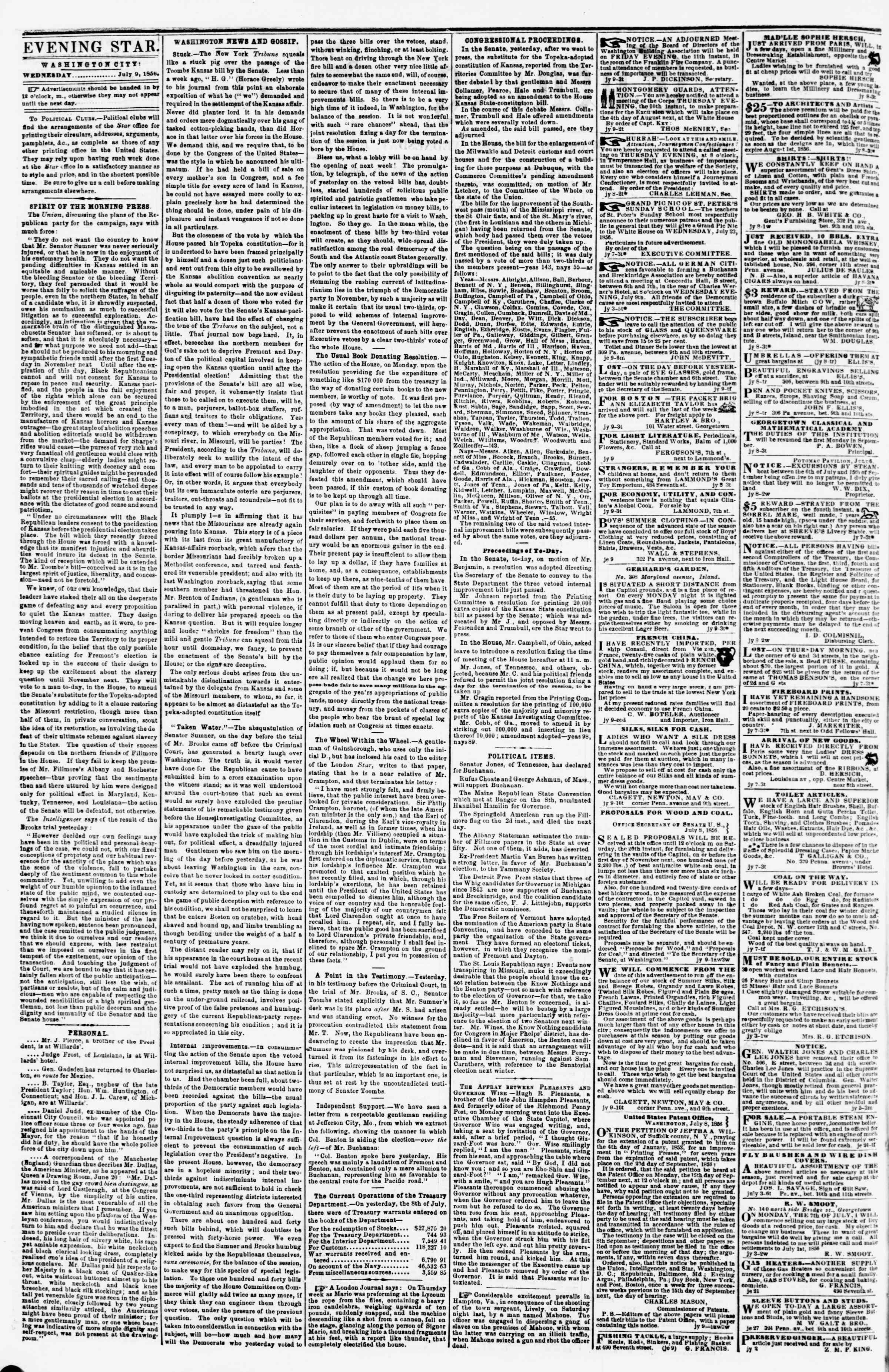 Newspaper of Evening Star dated July 9, 1856 Page 2