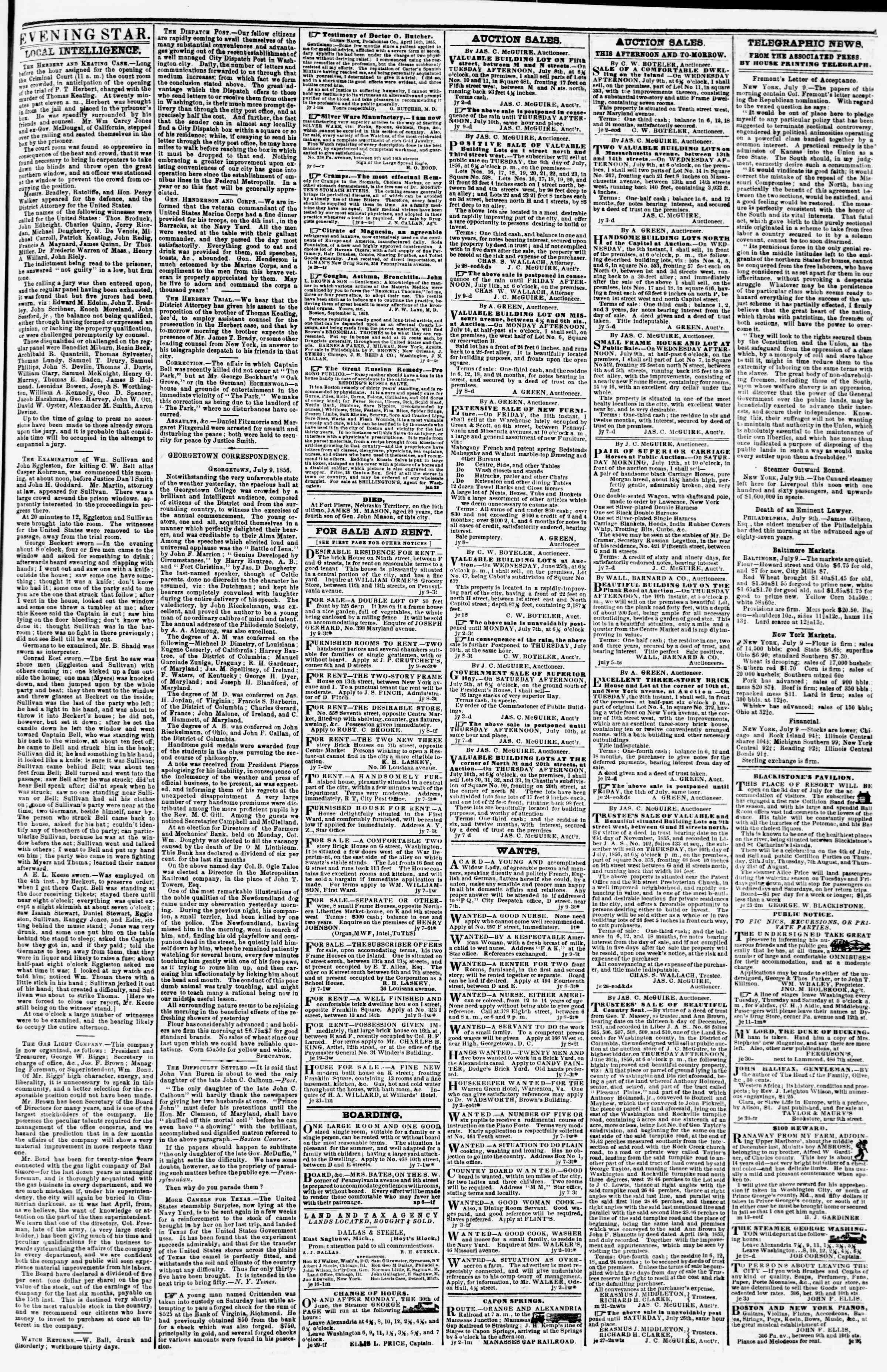 9 Temmuz 1856 tarihli Evening Star Gazetesi Sayfa 3