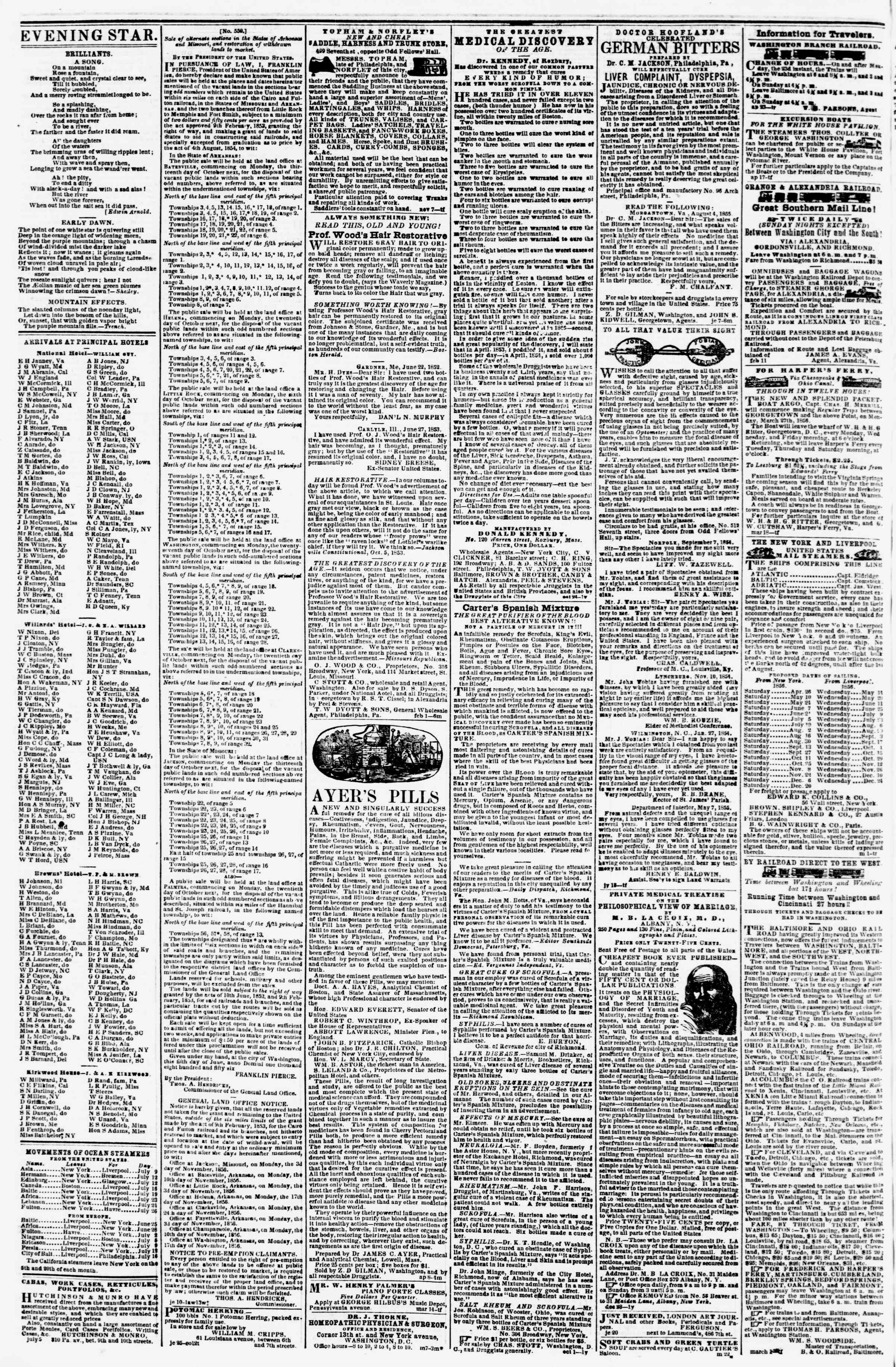 Newspaper of Evening Star dated July 9, 1856 Page 4