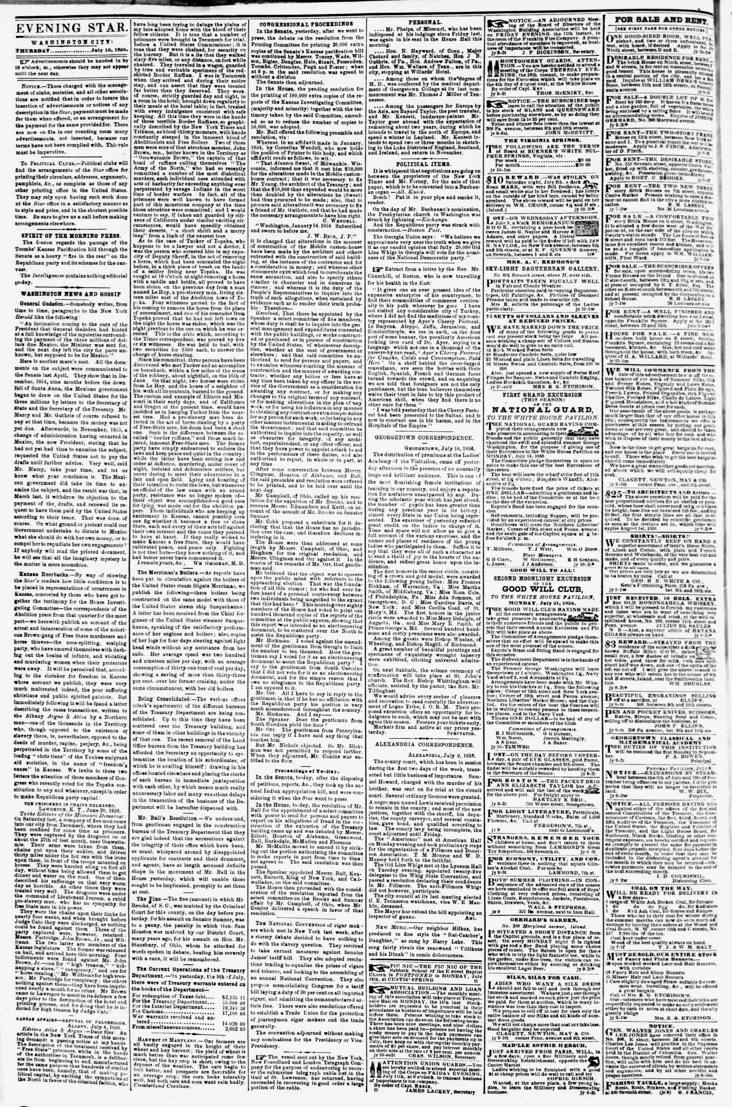 Newspaper of Evening Star dated July 10, 1856 Page 2