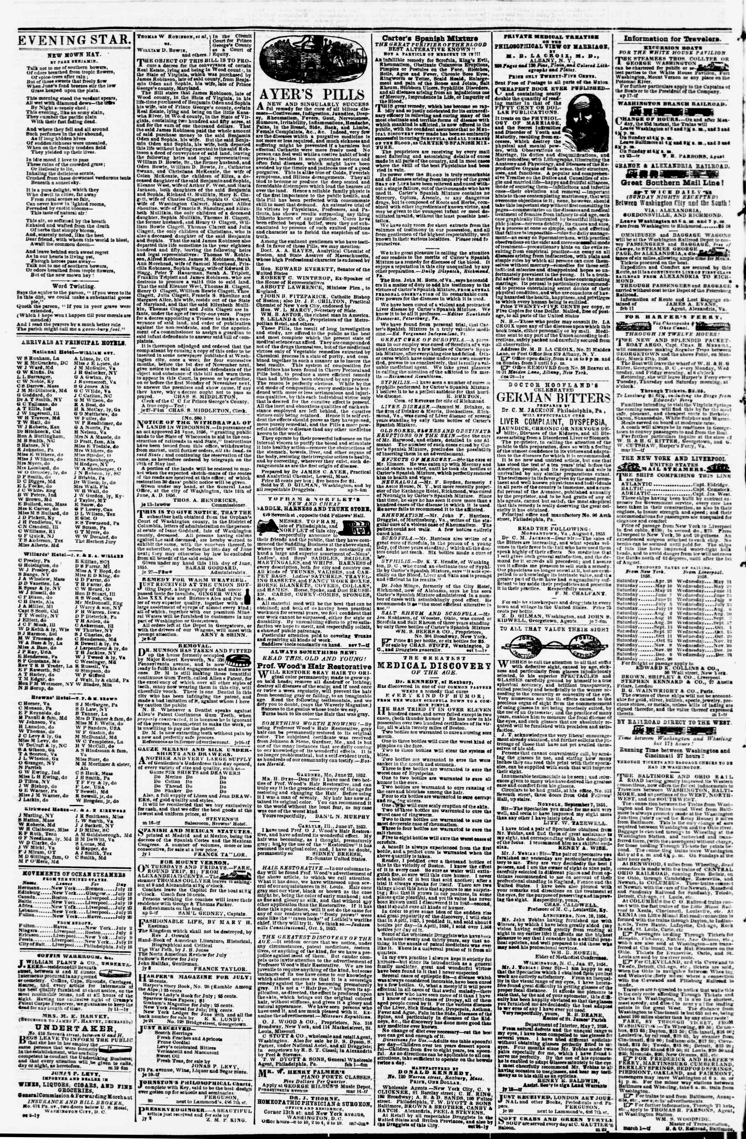 Newspaper of Evening Star dated July 11, 1856 Page 4