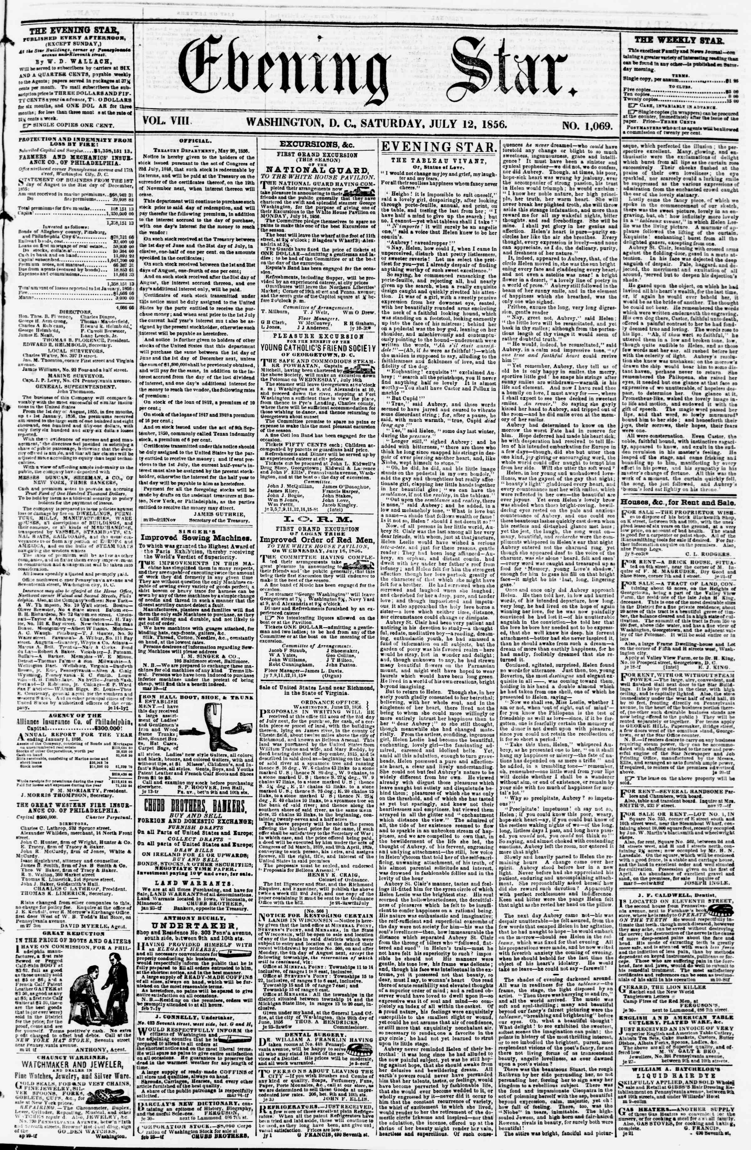 Newspaper of Evening Star dated July 12, 1856 Page 1