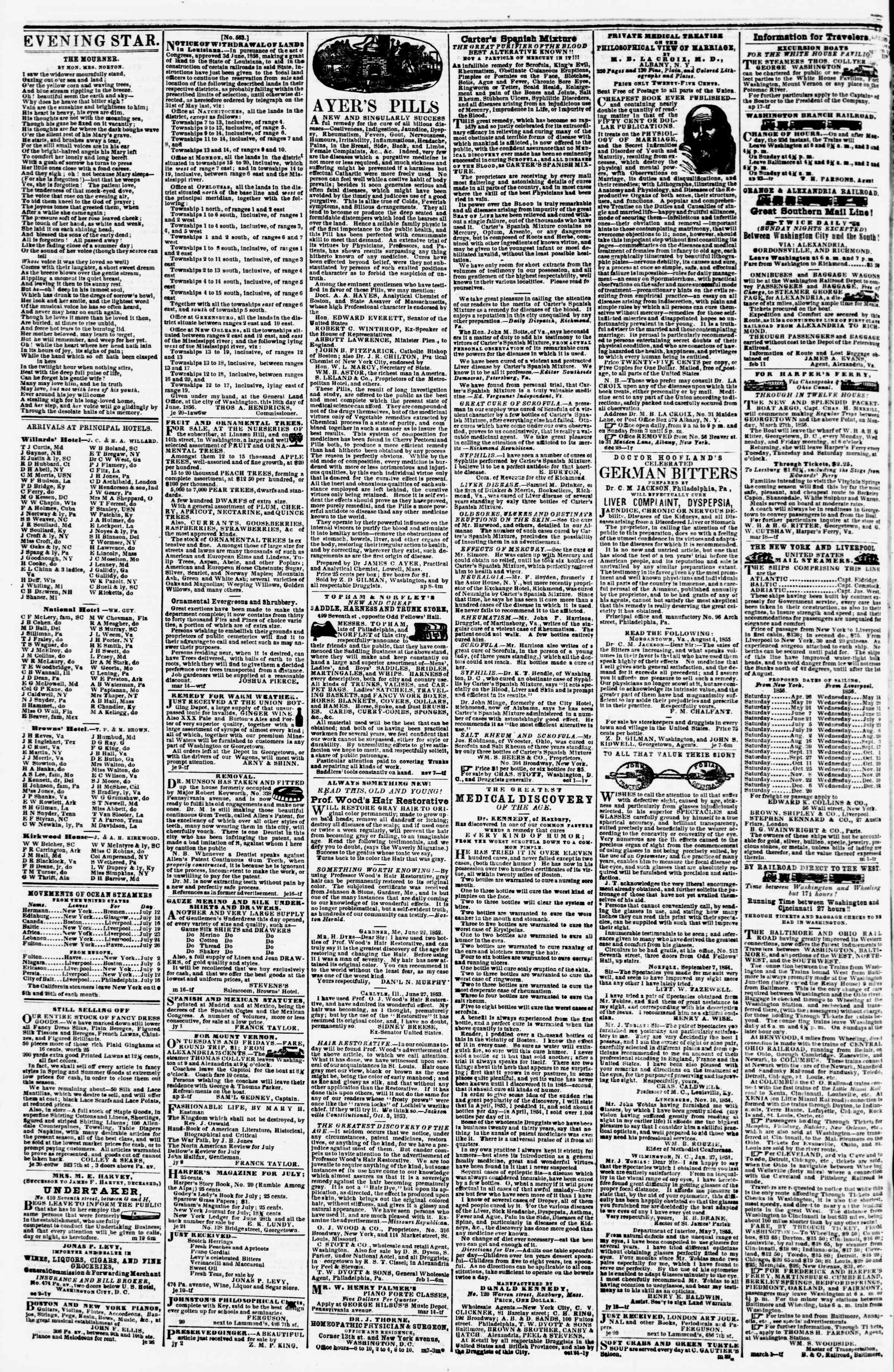 Newspaper of Evening Star dated July 12, 1856 Page 4