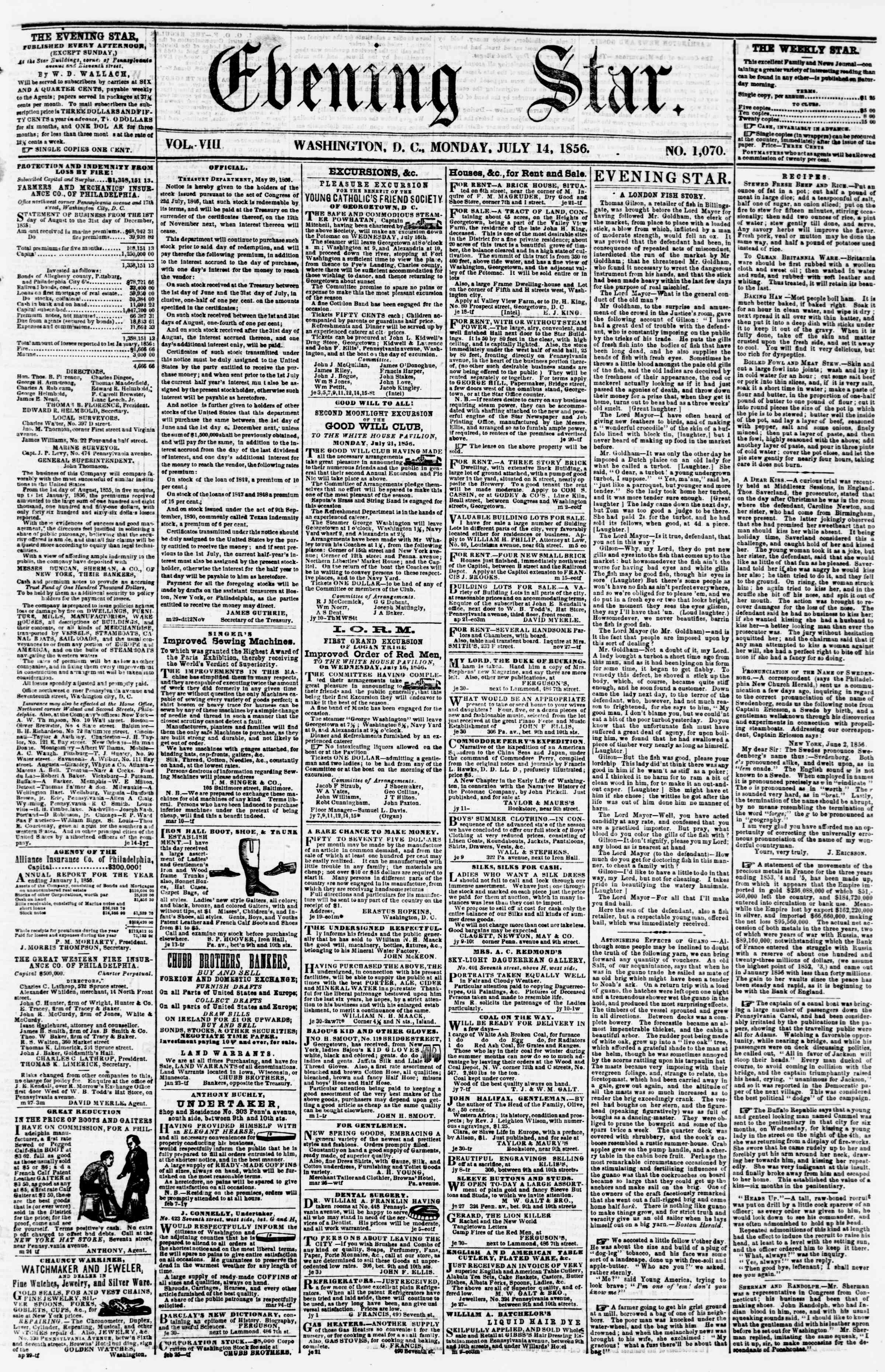 Newspaper of Evening Star dated July 14, 1856 Page 1