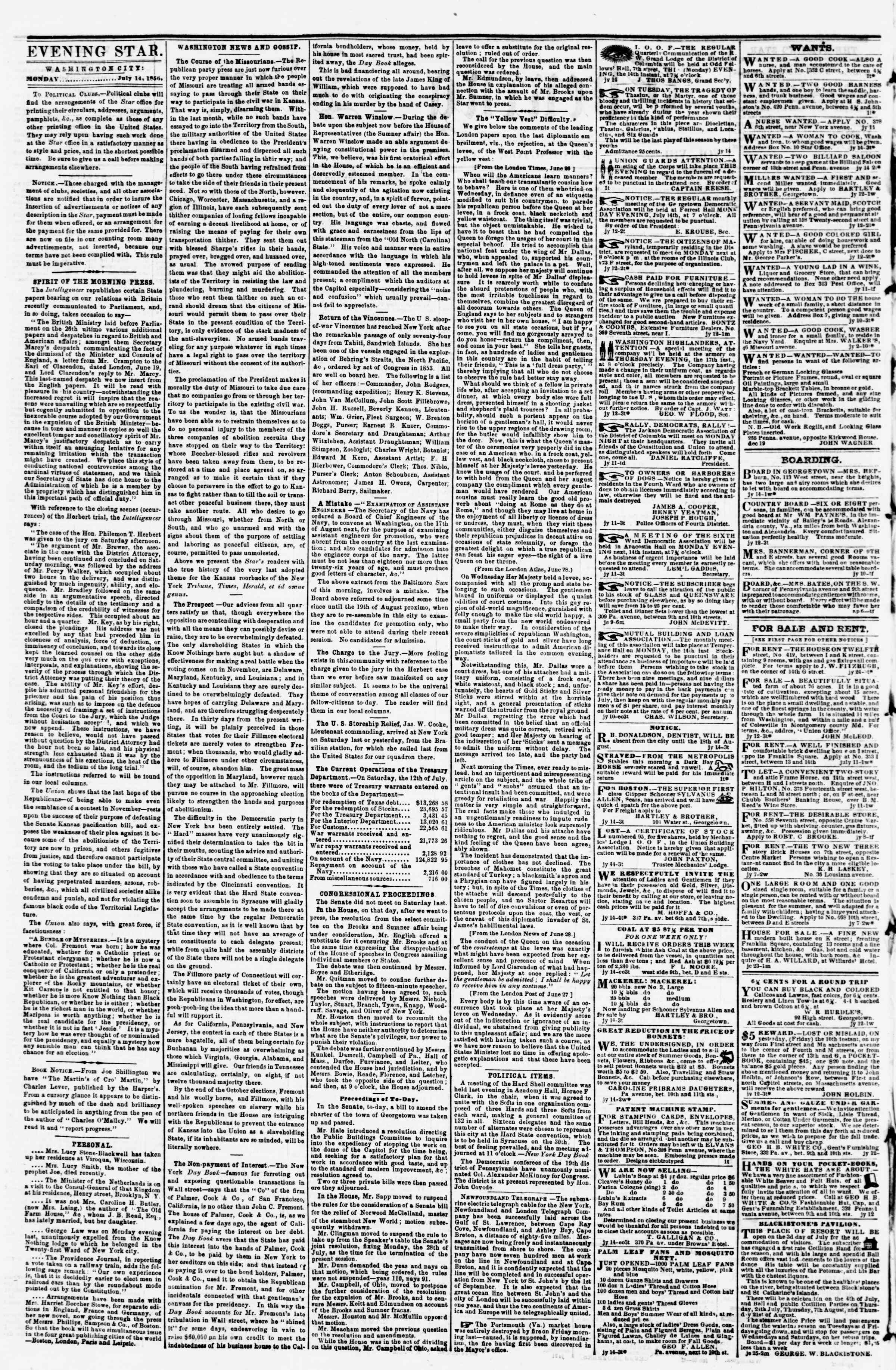 Newspaper of Evening Star dated July 14, 1856 Page 2