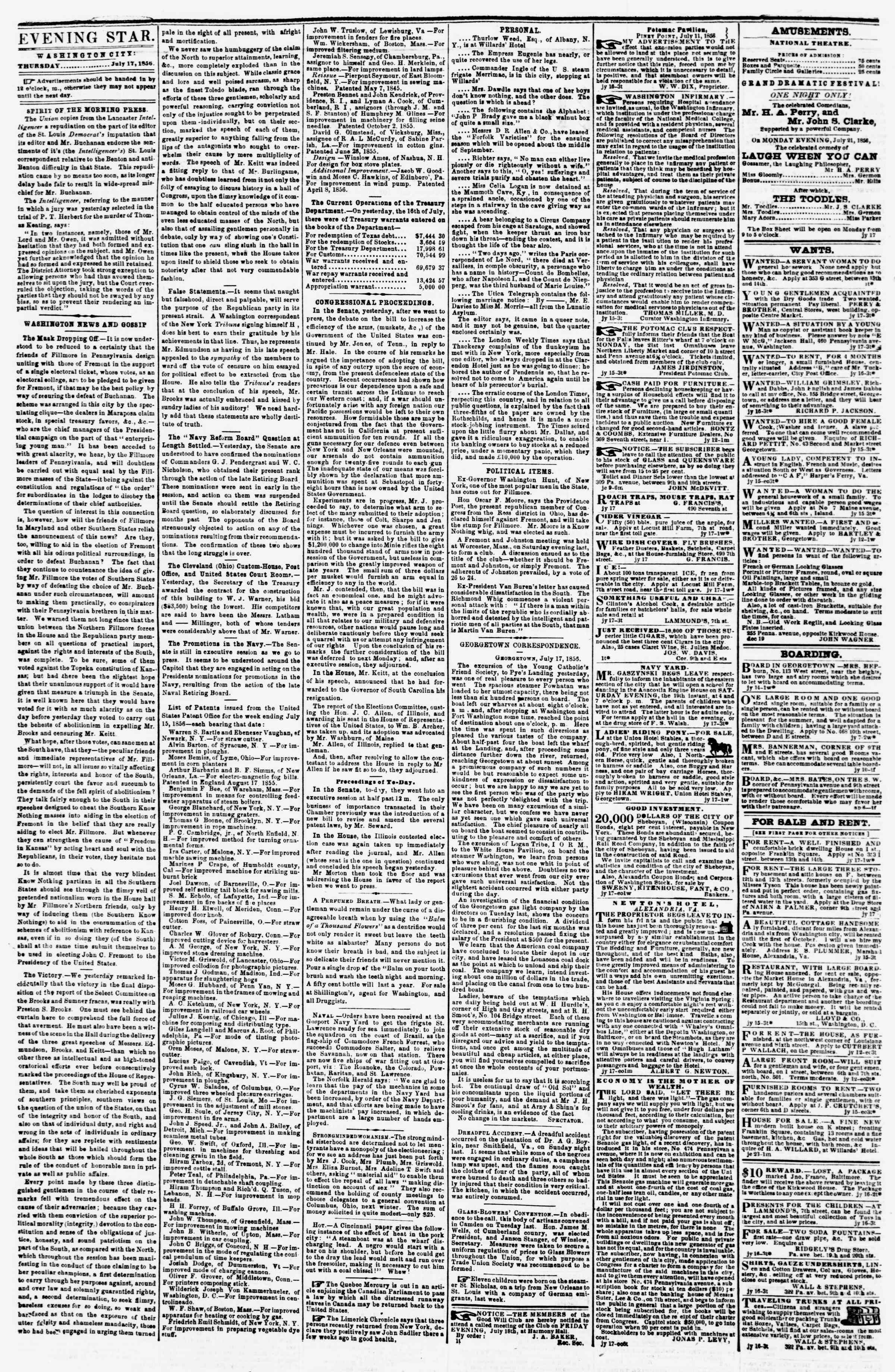 Newspaper of Evening Star dated July 17, 1856 Page 2