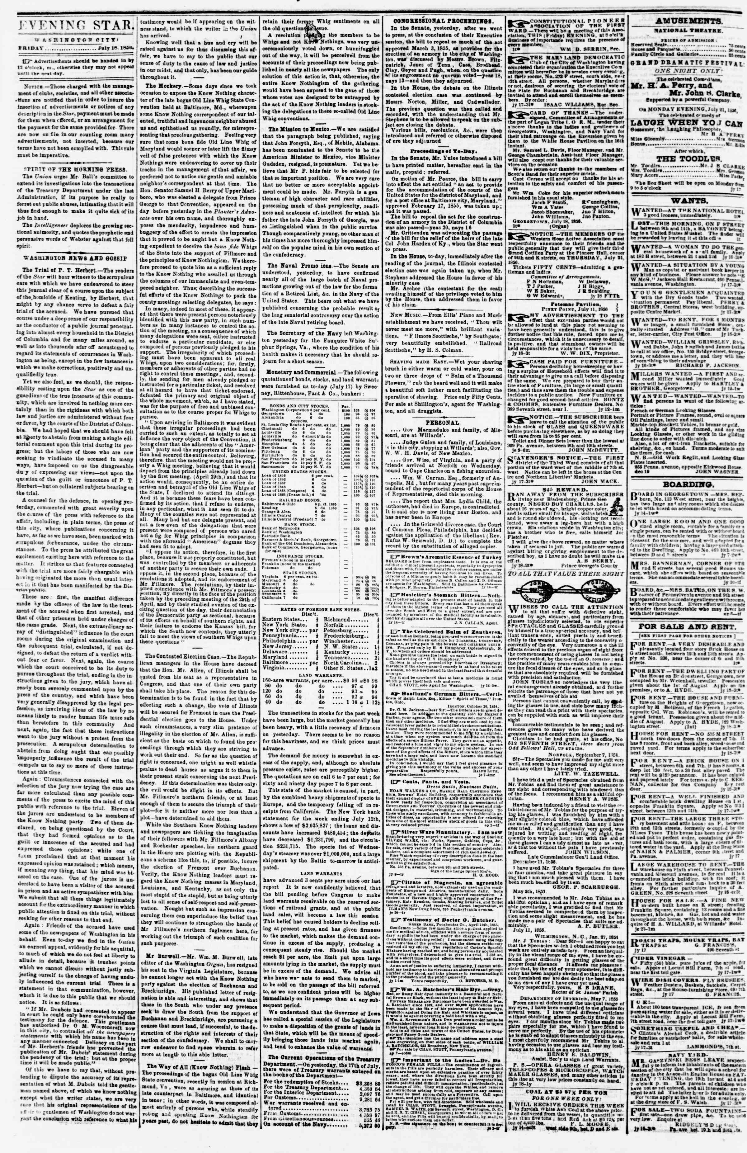Newspaper of Evening Star dated July 18, 1856 Page 2