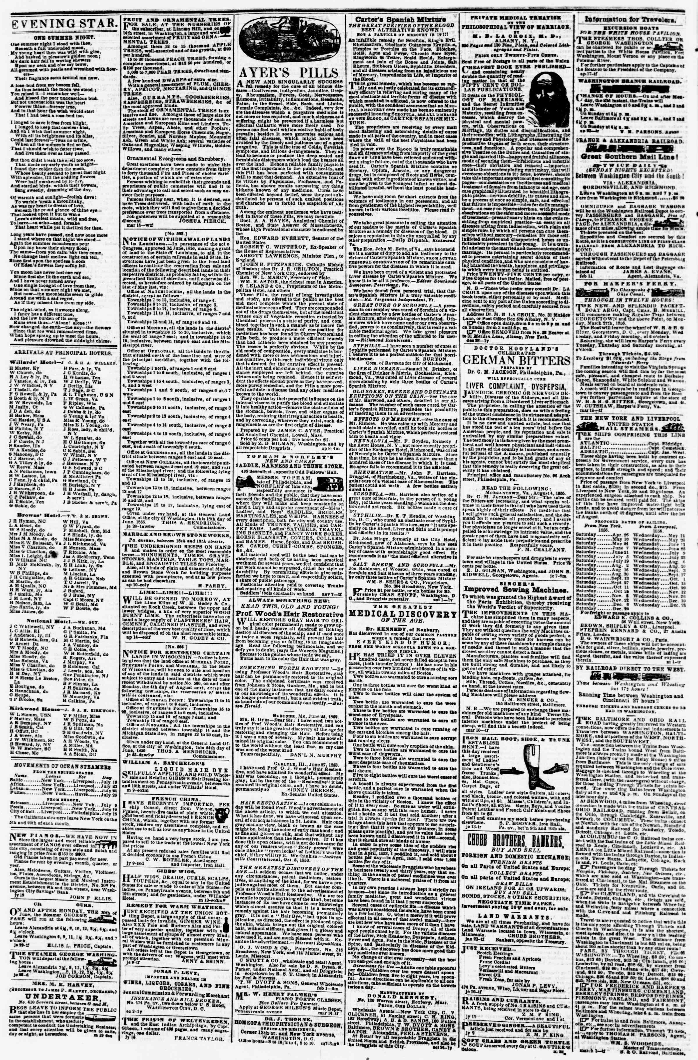 19 Temmuz 1856 tarihli Evening Star Gazetesi Sayfa 4