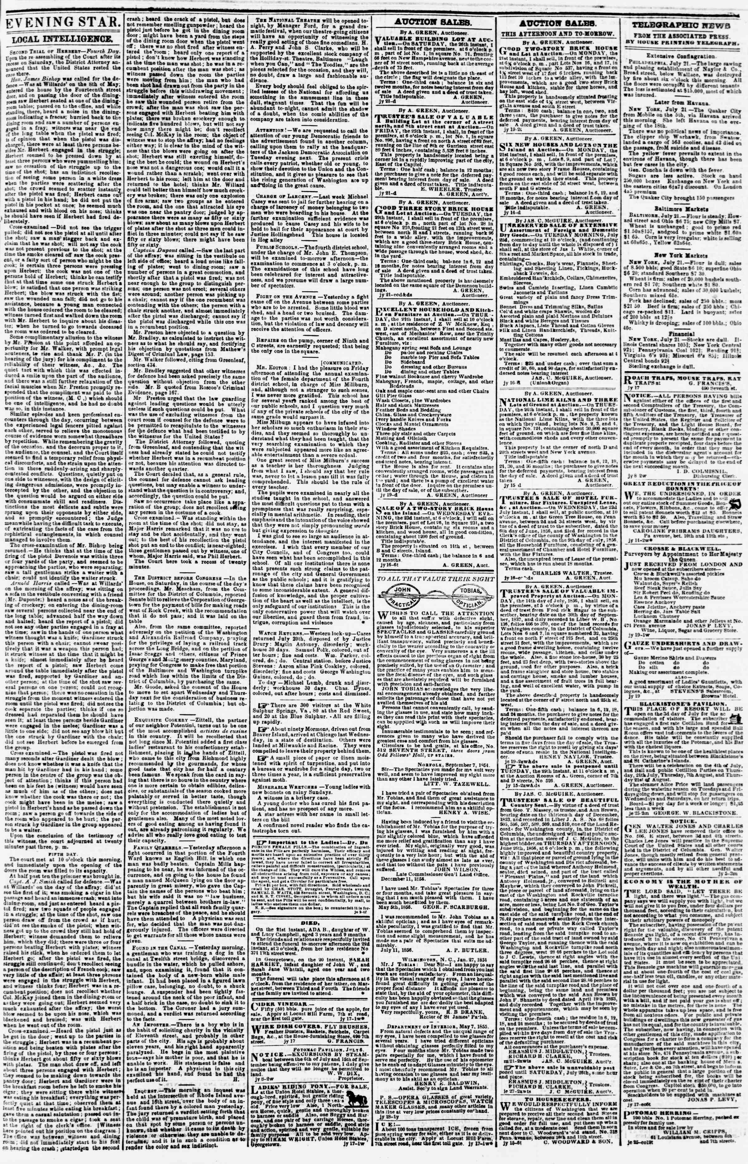 Newspaper of Evening Star dated July 21, 1856 Page 3