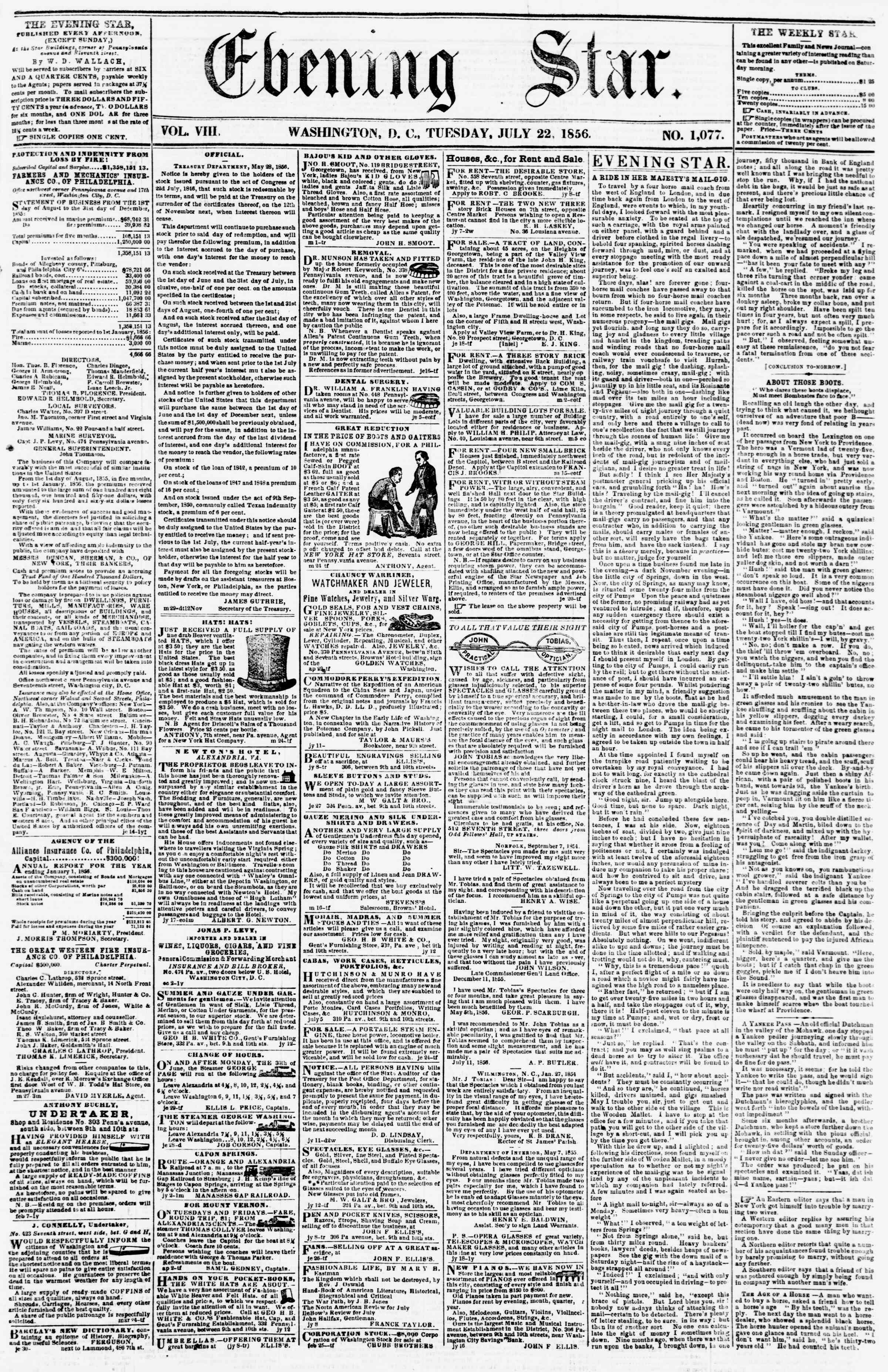Newspaper of Evening Star dated July 22, 1856 Page 1