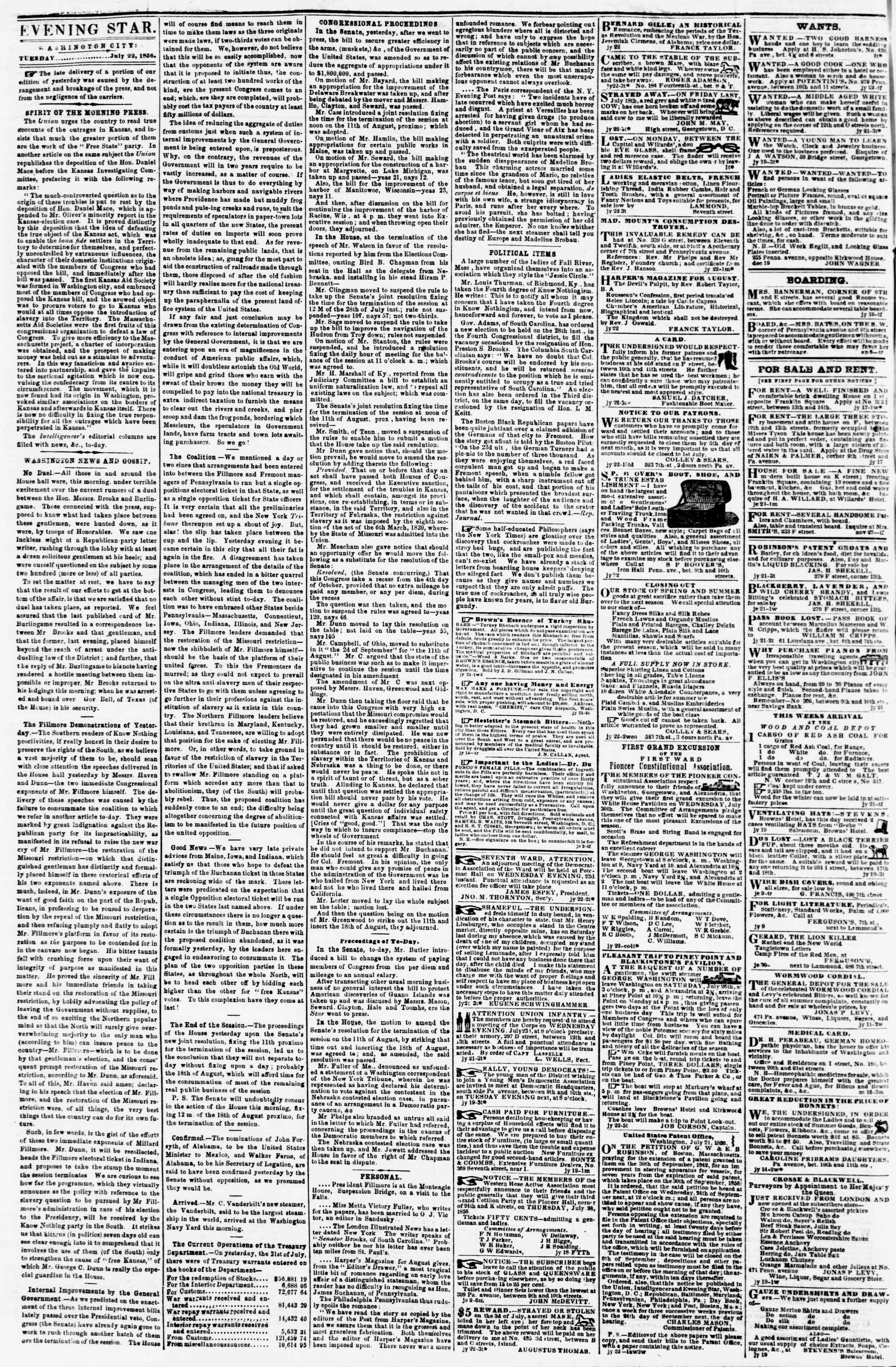 Newspaper of Evening Star dated July 22, 1856 Page 2
