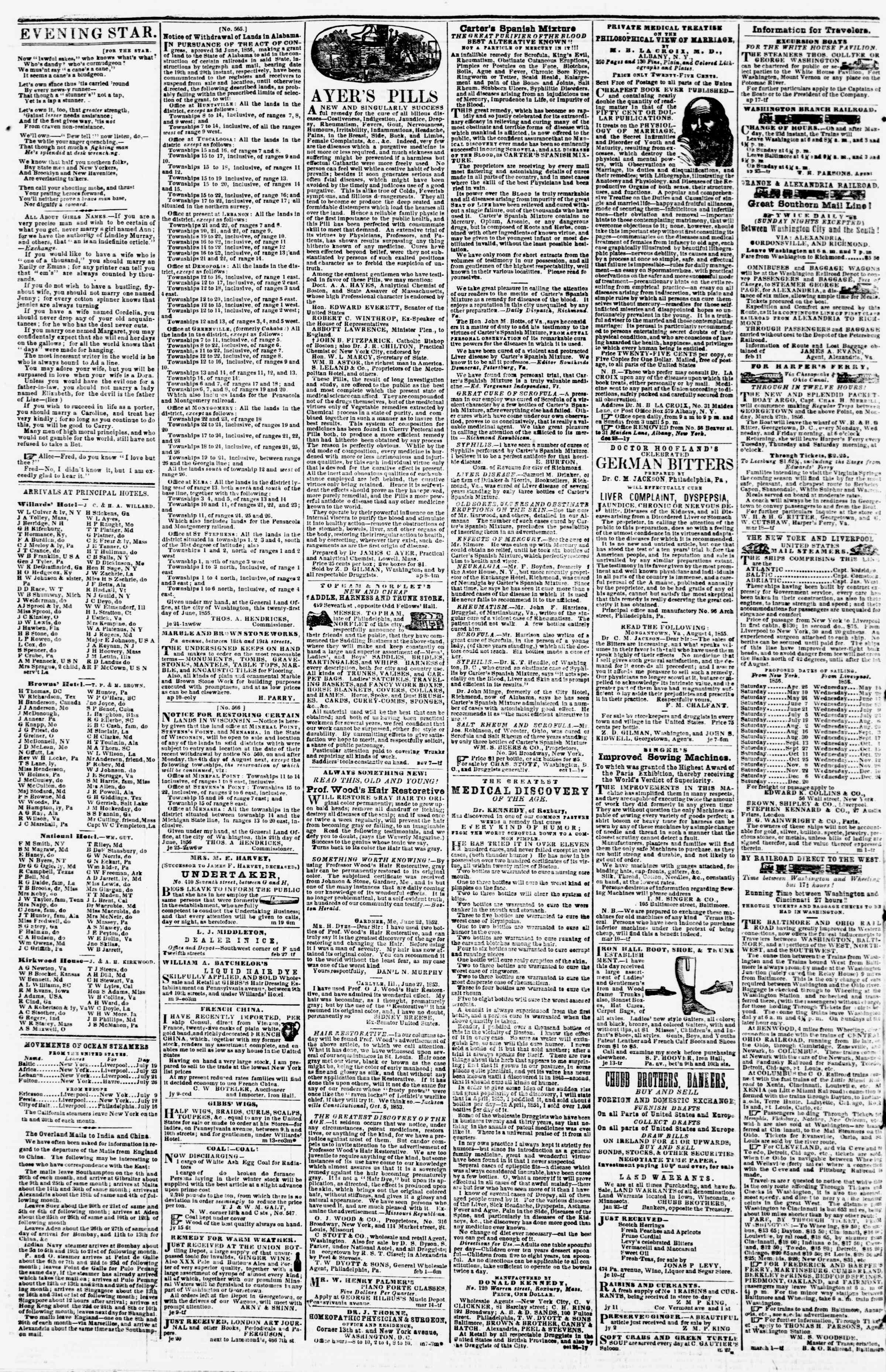 Newspaper of Evening Star dated July 22, 1856 Page 4