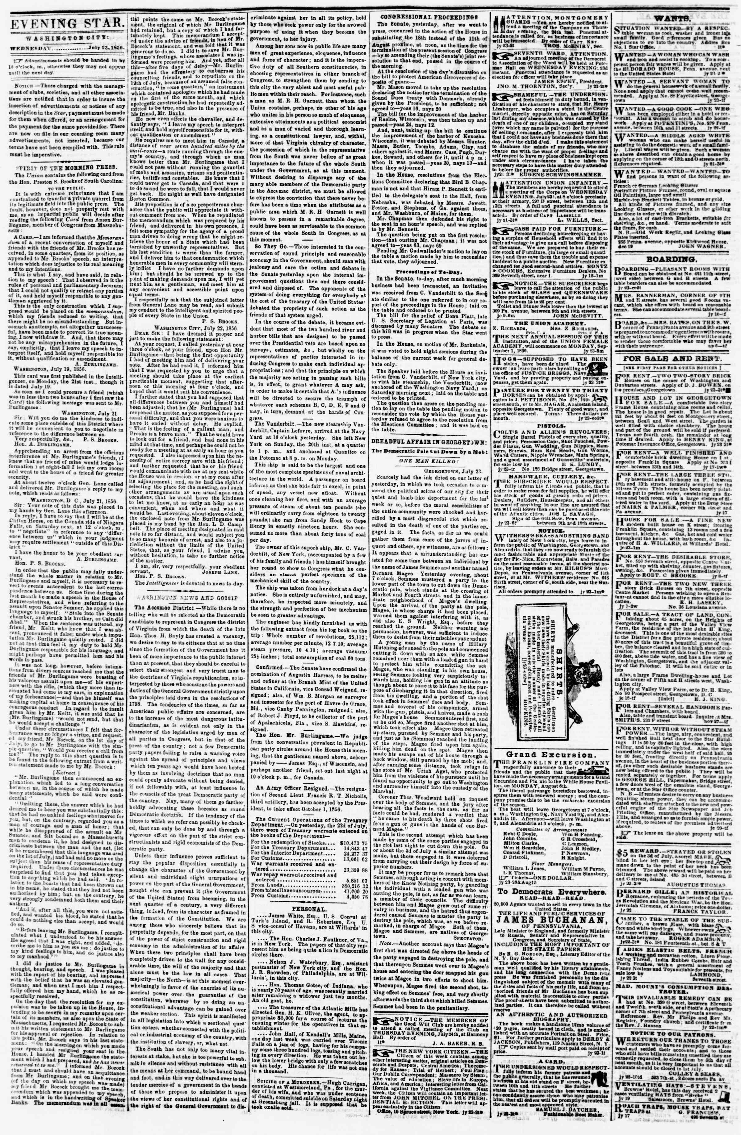 Newspaper of Evening Star dated July 23, 1856 Page 2