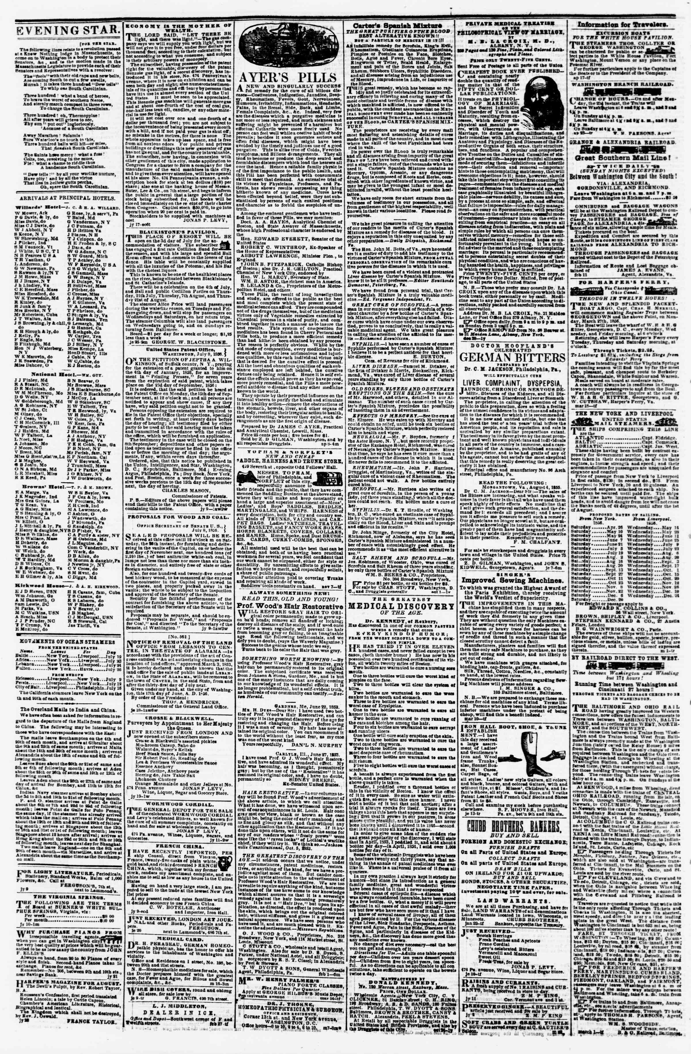 Newspaper of Evening Star dated July 23, 1856 Page 4