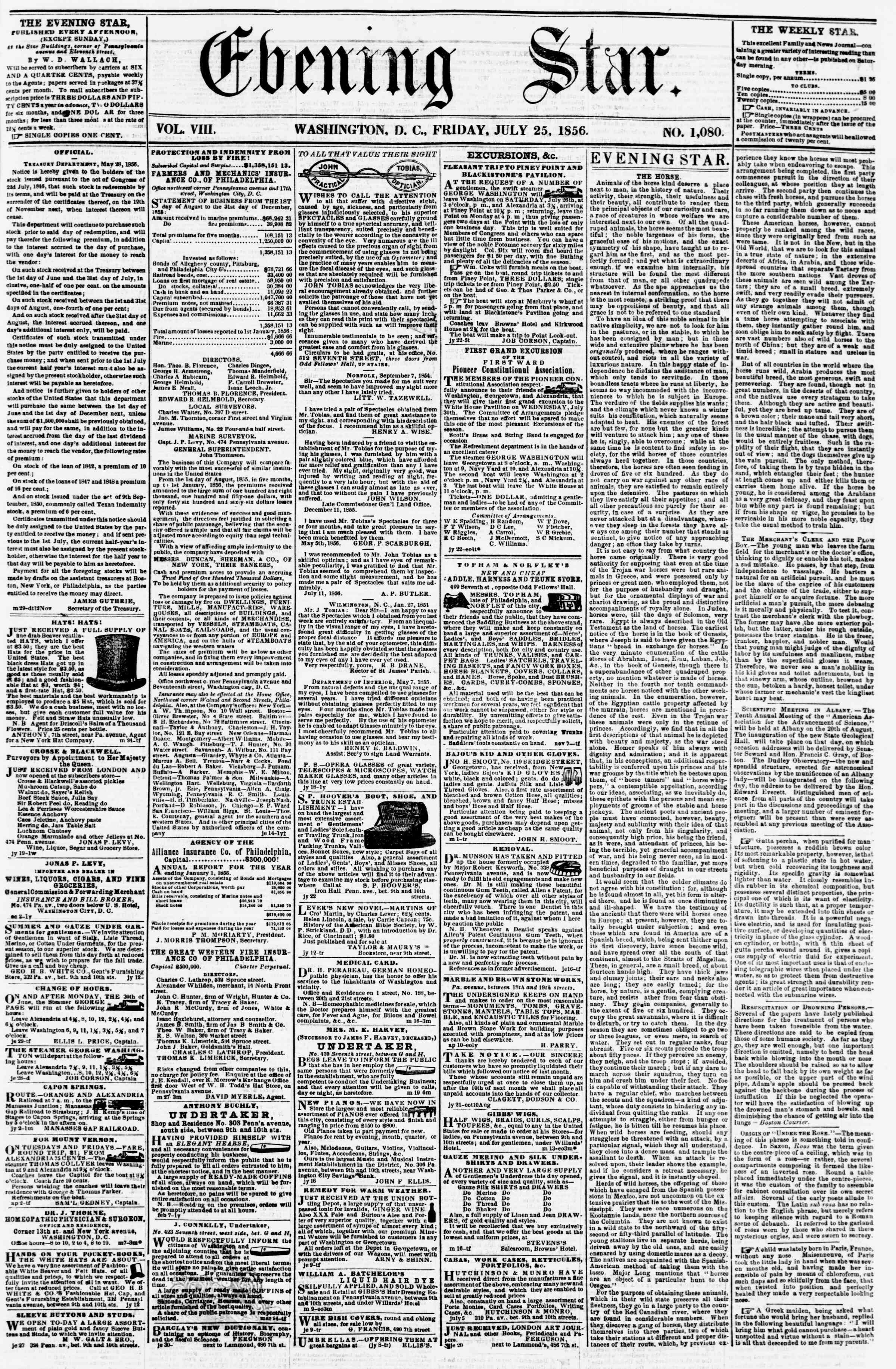Newspaper of Evening Star dated July 25, 1856 Page 1