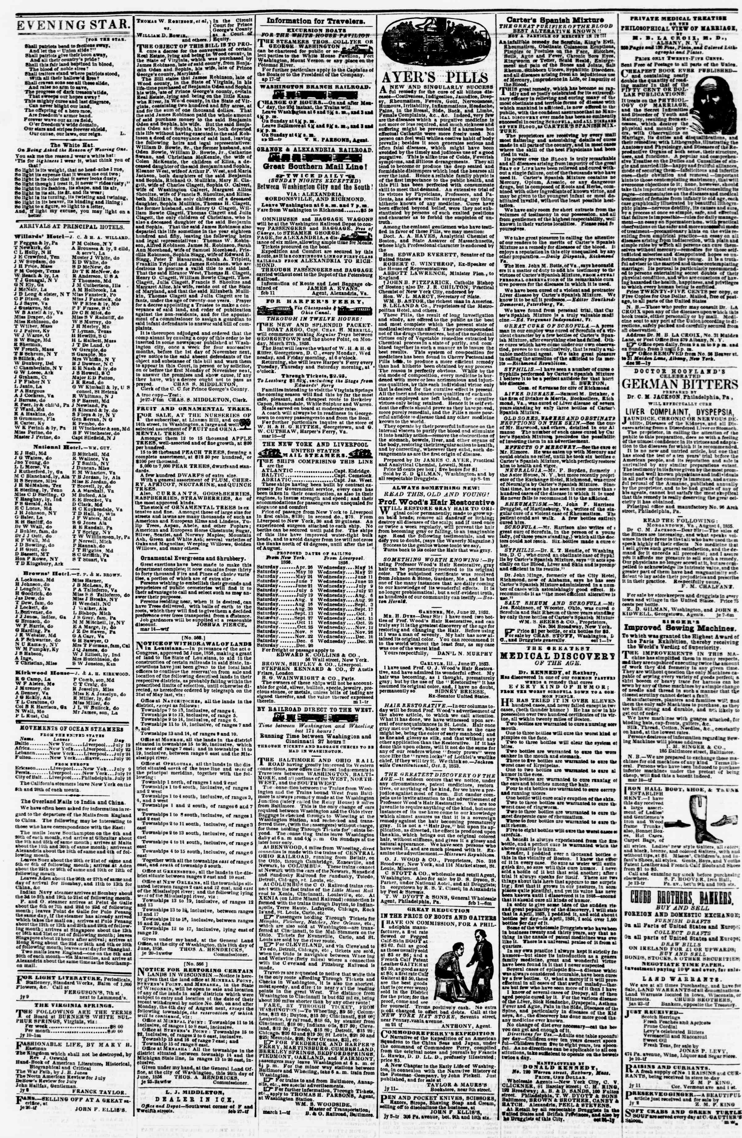 Newspaper of Evening Star dated July 25, 1856 Page 4