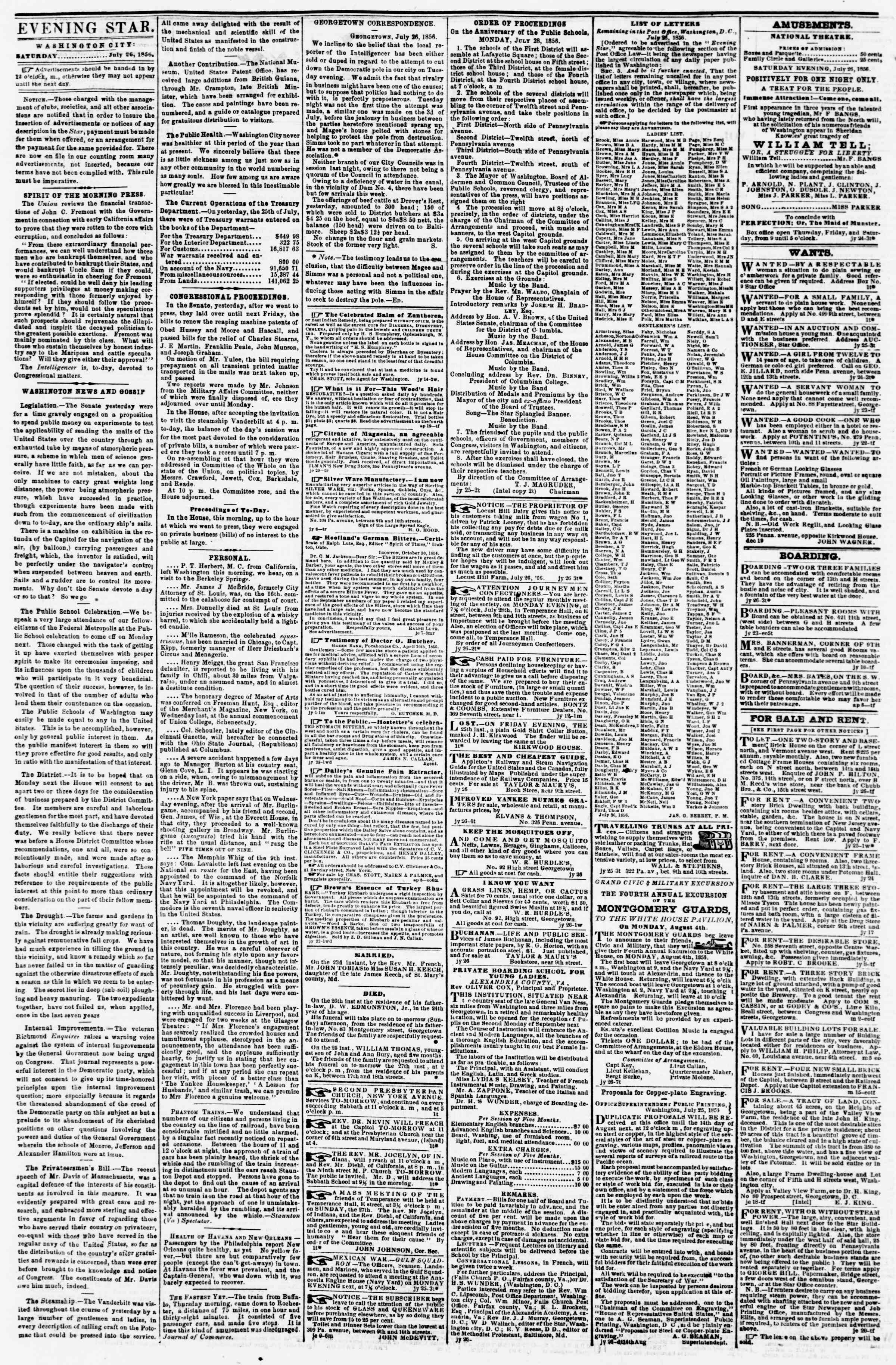 Newspaper of Evening Star dated July 26, 1856 Page 2