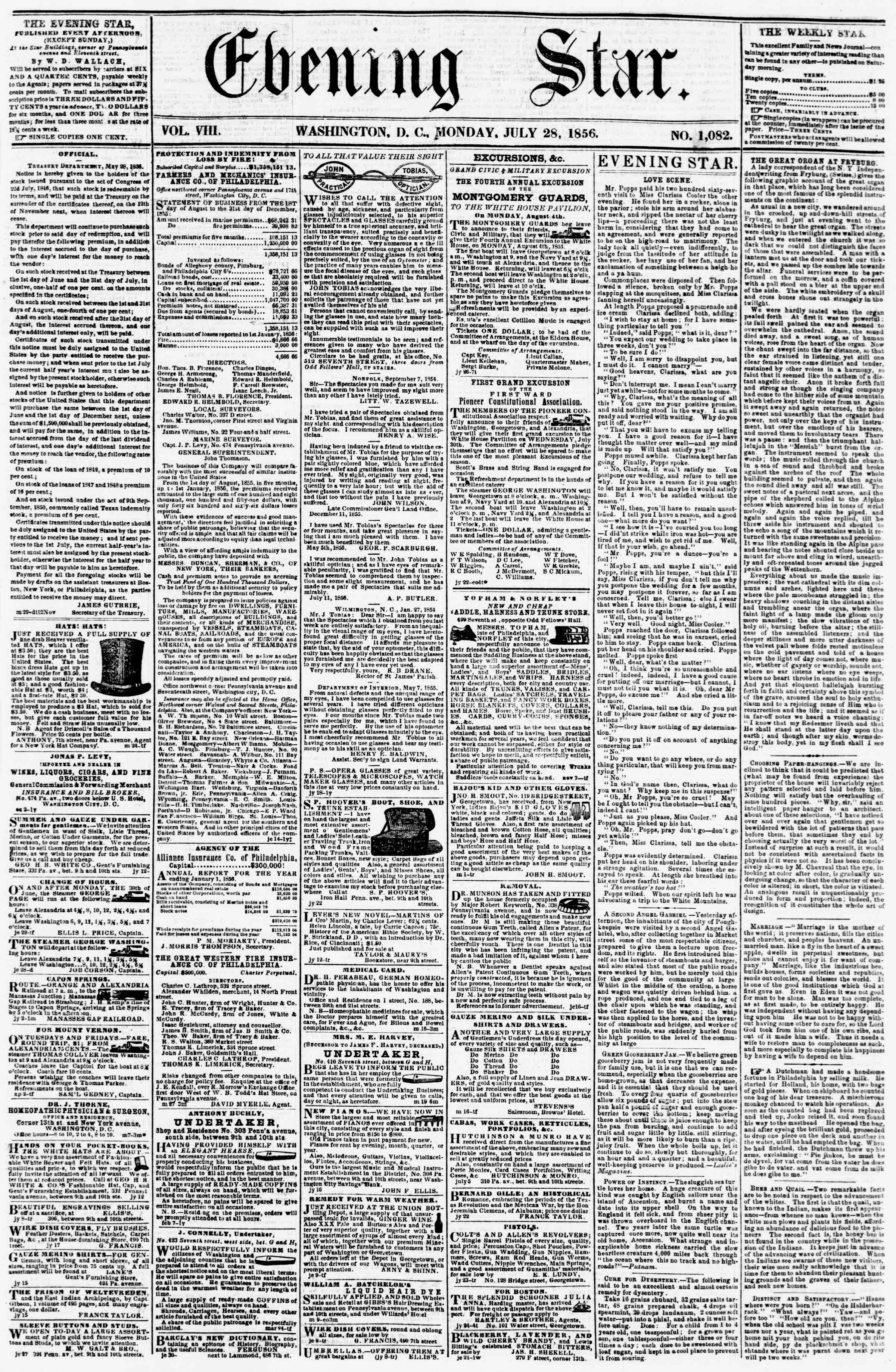Newspaper of Evening Star dated July 28, 1856 Page 1