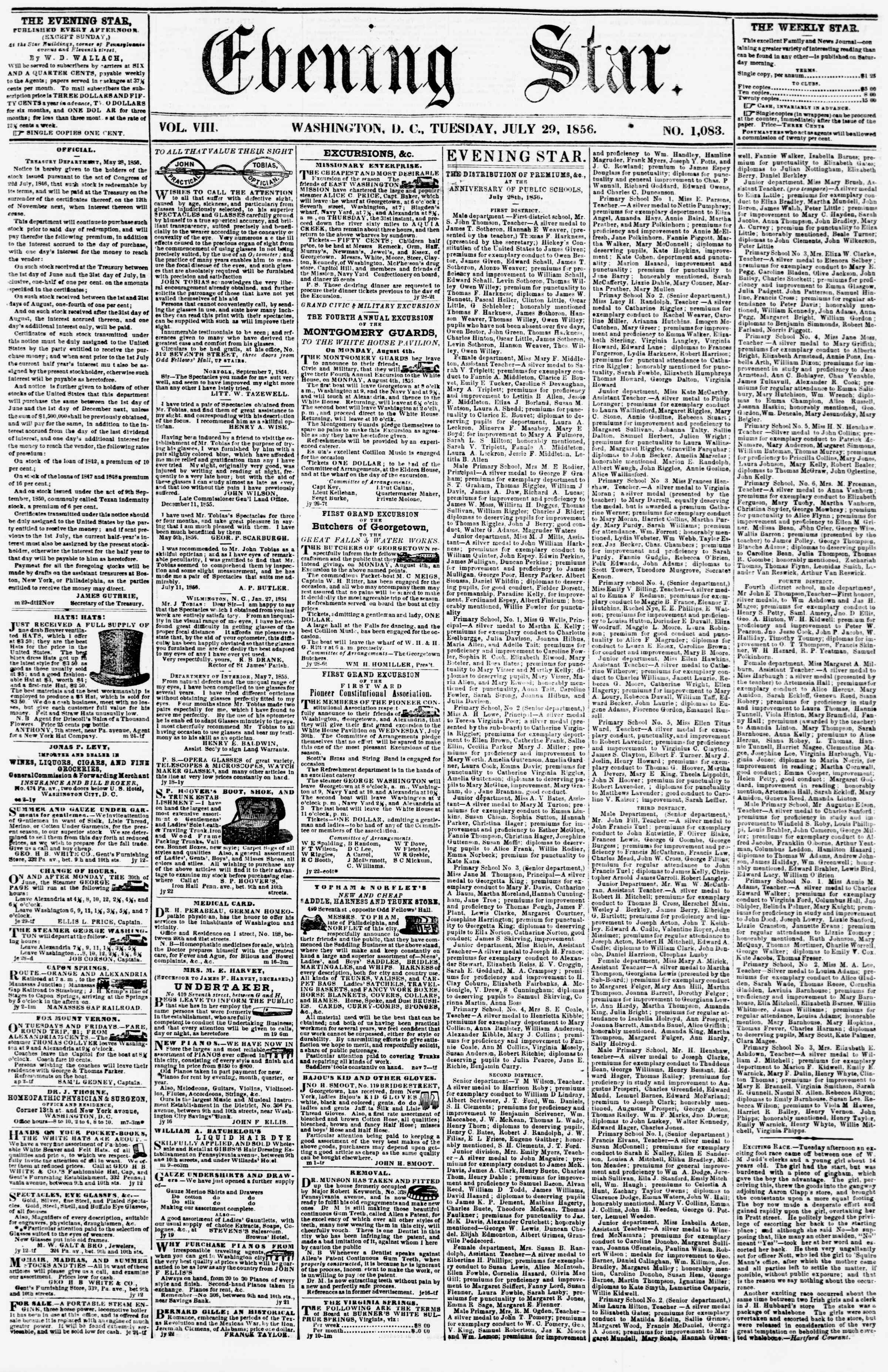 Newspaper of Evening Star dated July 29, 1856 Page 1
