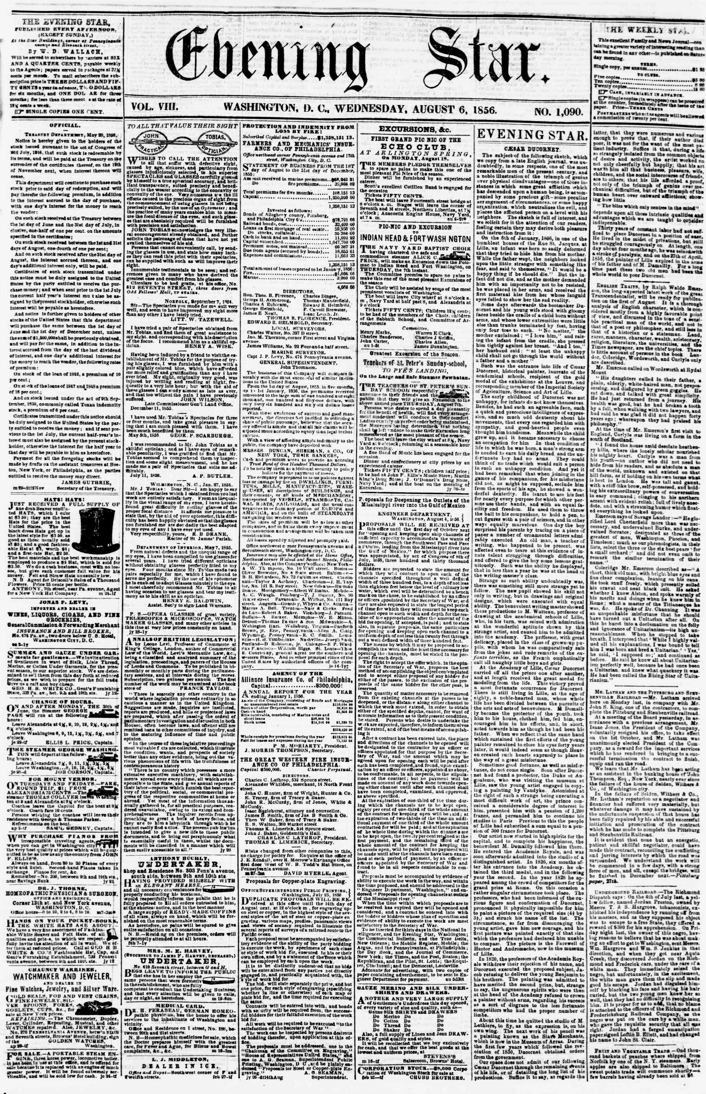 Newspaper of Evening Star dated August 6, 1856 Page 1