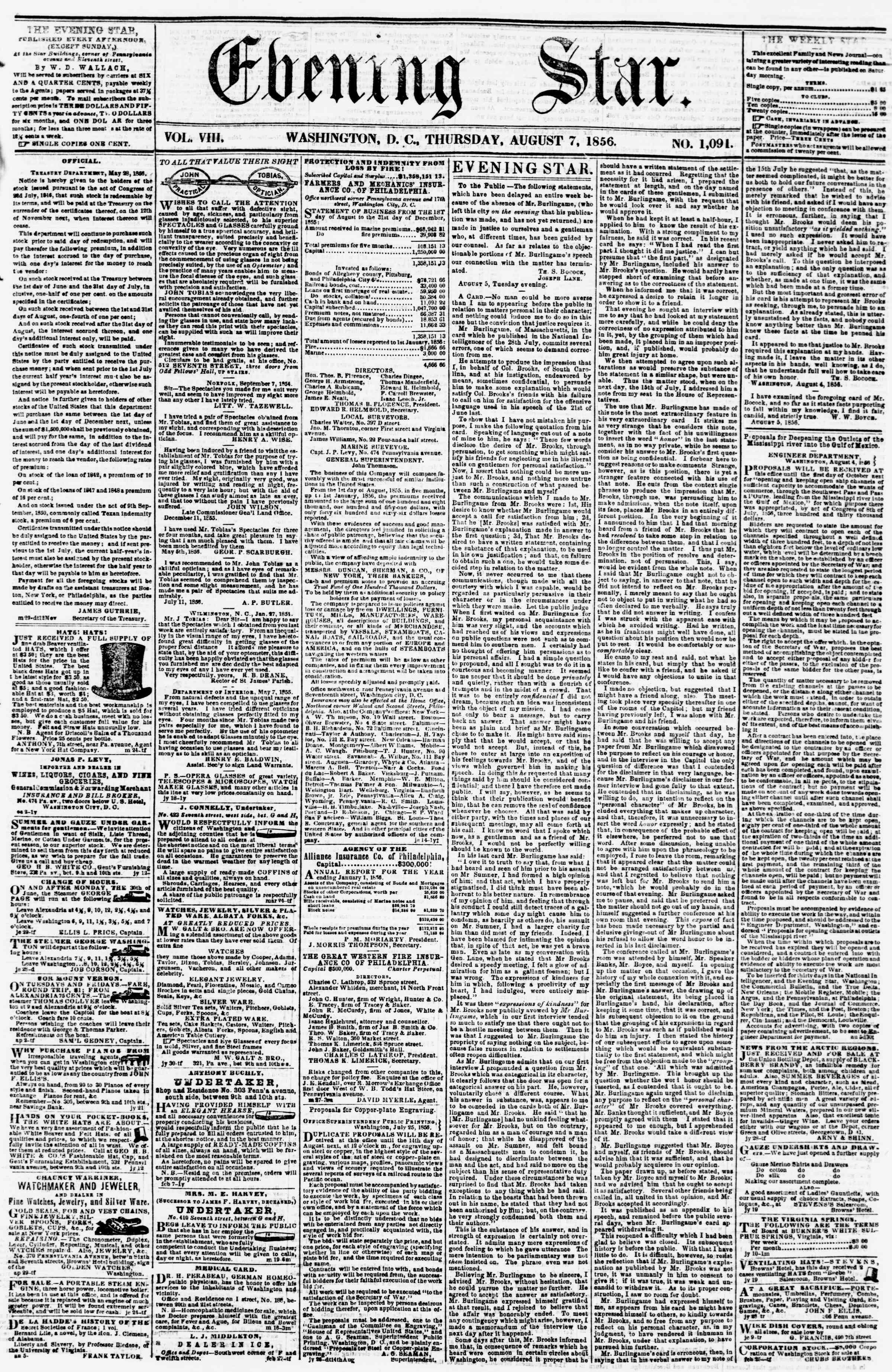 Newspaper of Evening Star dated August 7, 1856 Page 1