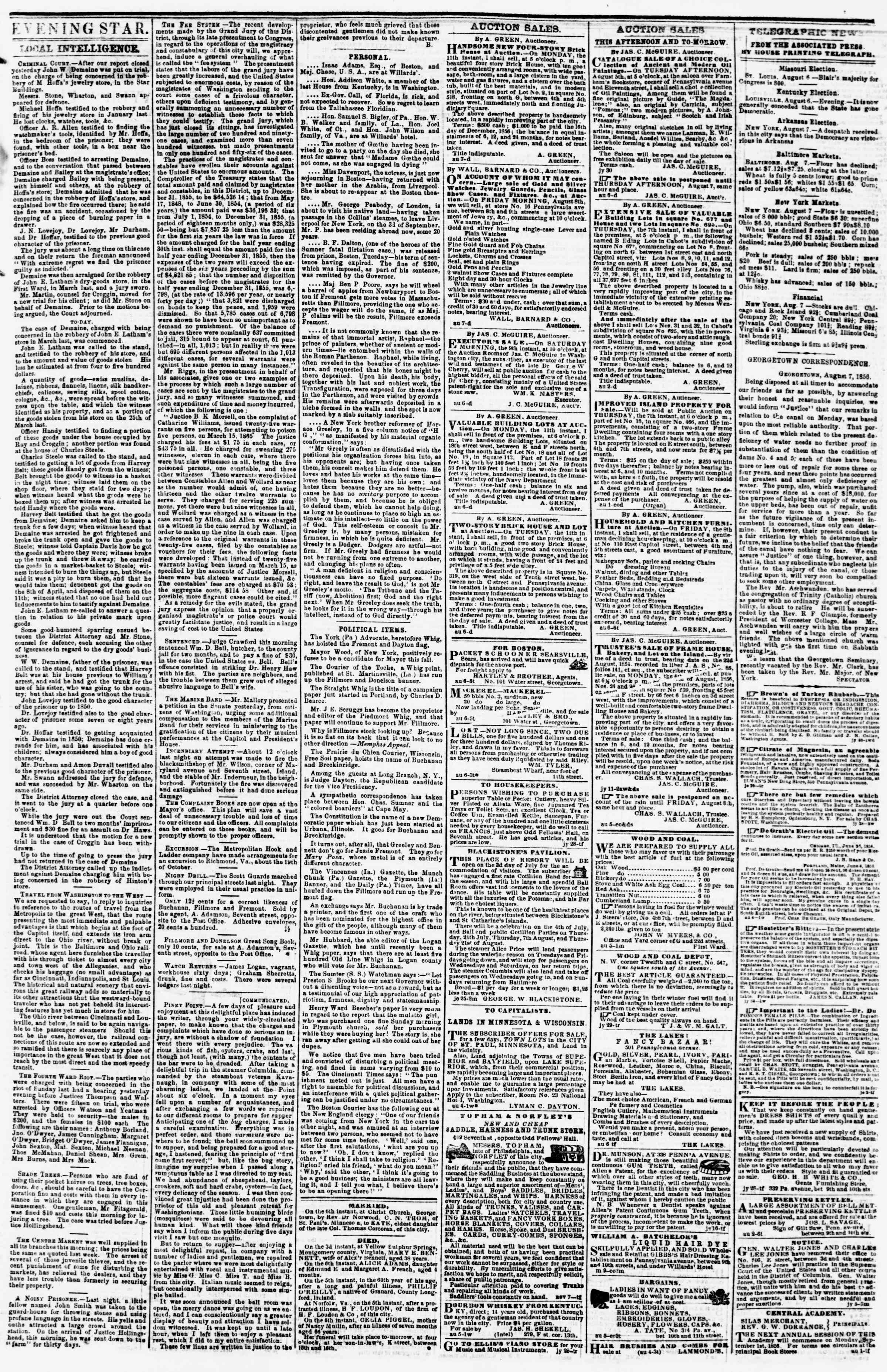 Newspaper of Evening Star dated August 7, 1856 Page 3