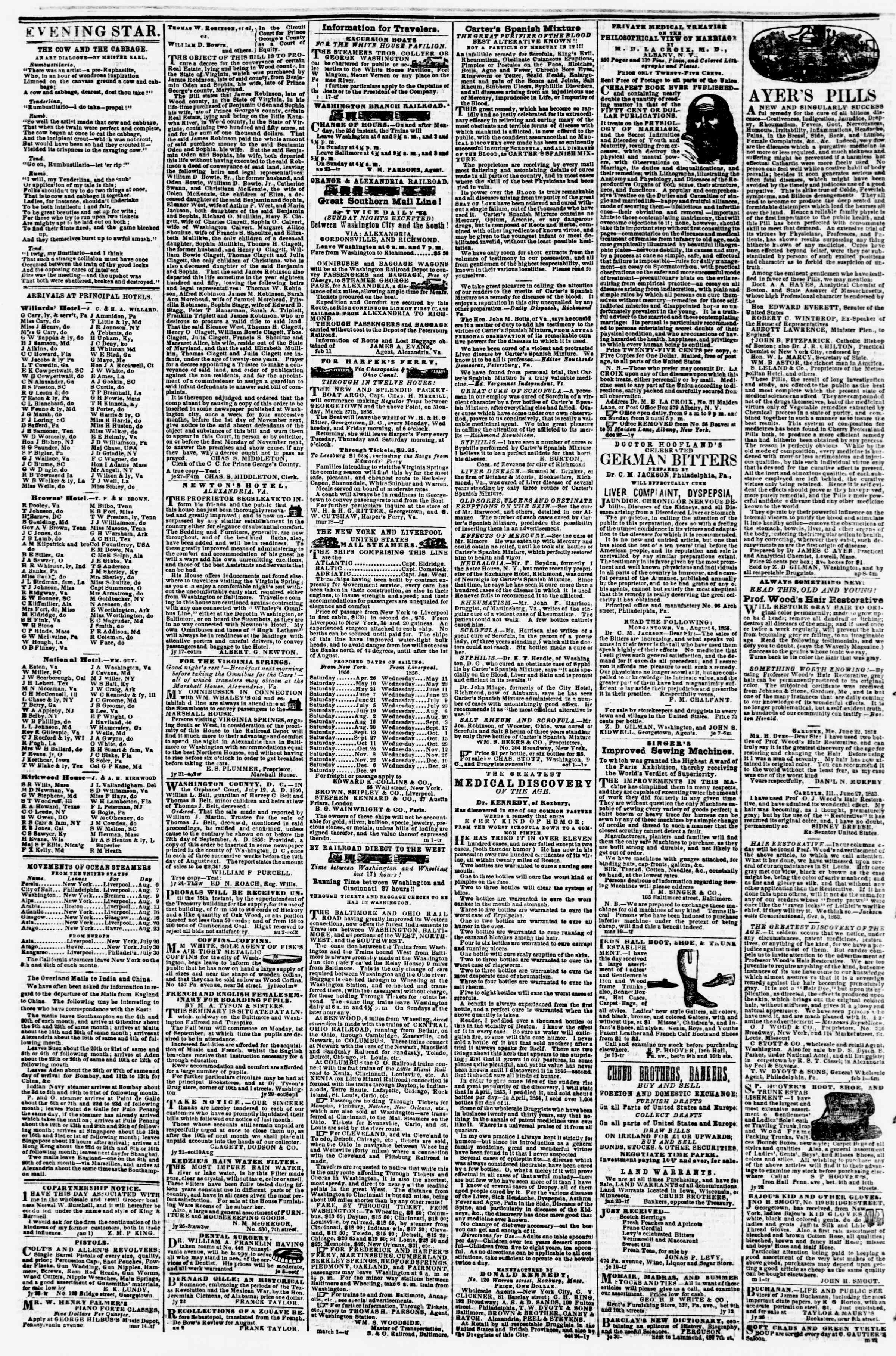 Newspaper of Evening Star dated August 7, 1856 Page 4