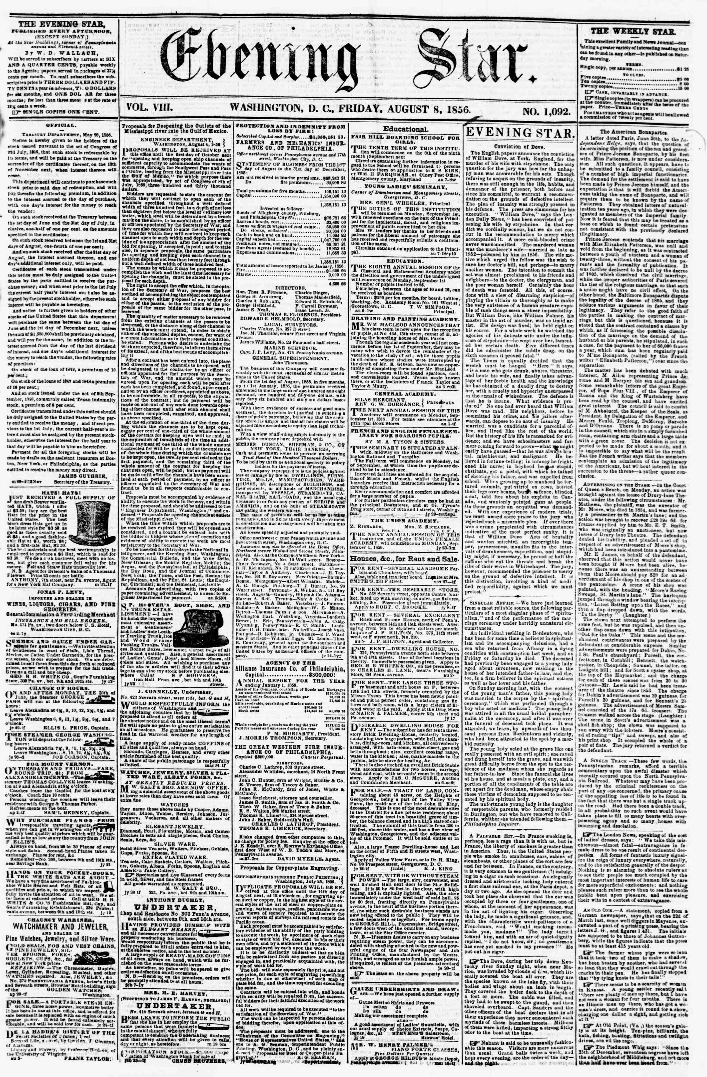 Newspaper of Evening Star dated August 8, 1856 Page 1