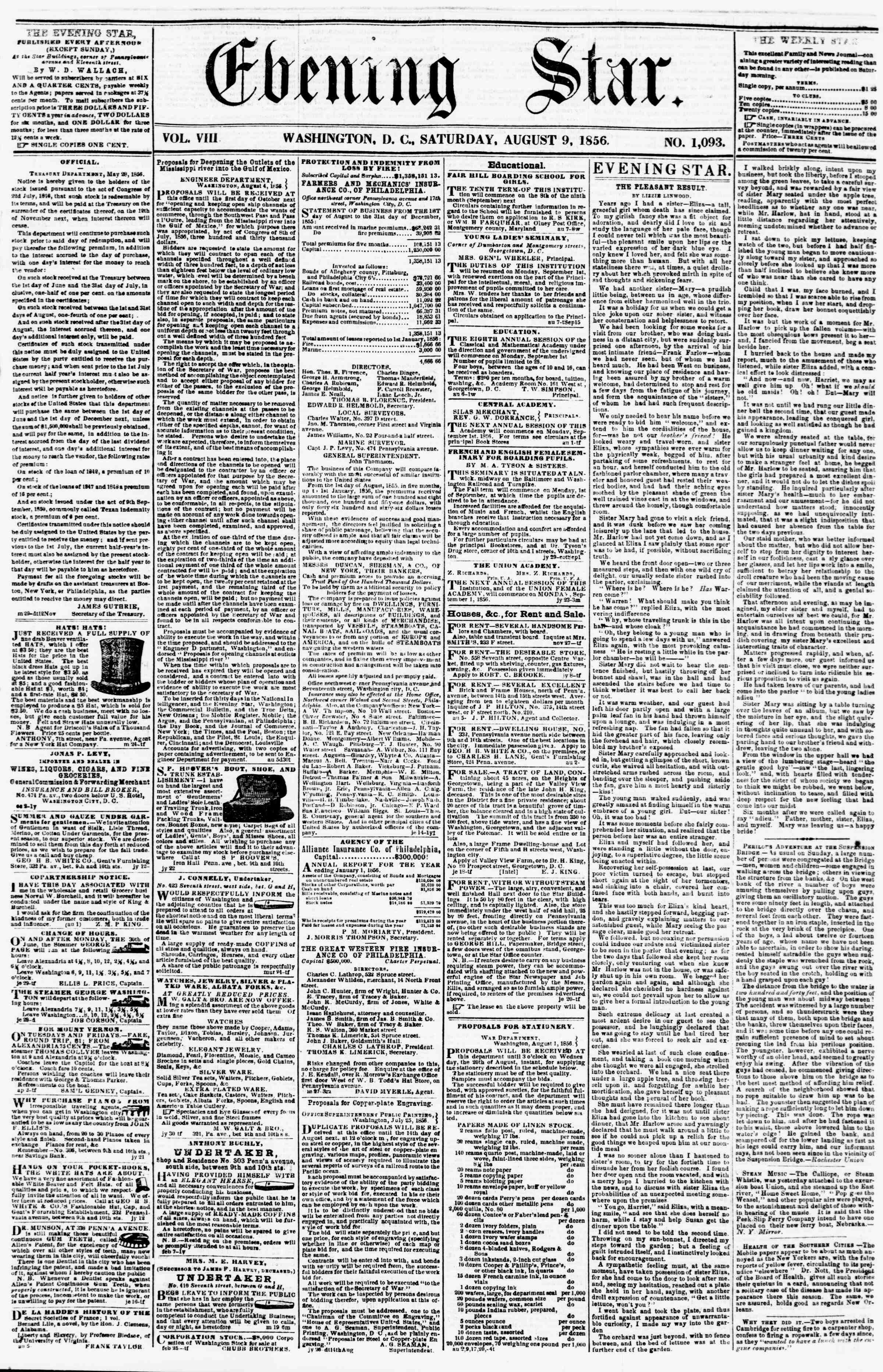 Newspaper of Evening Star dated August 9, 1856 Page 1