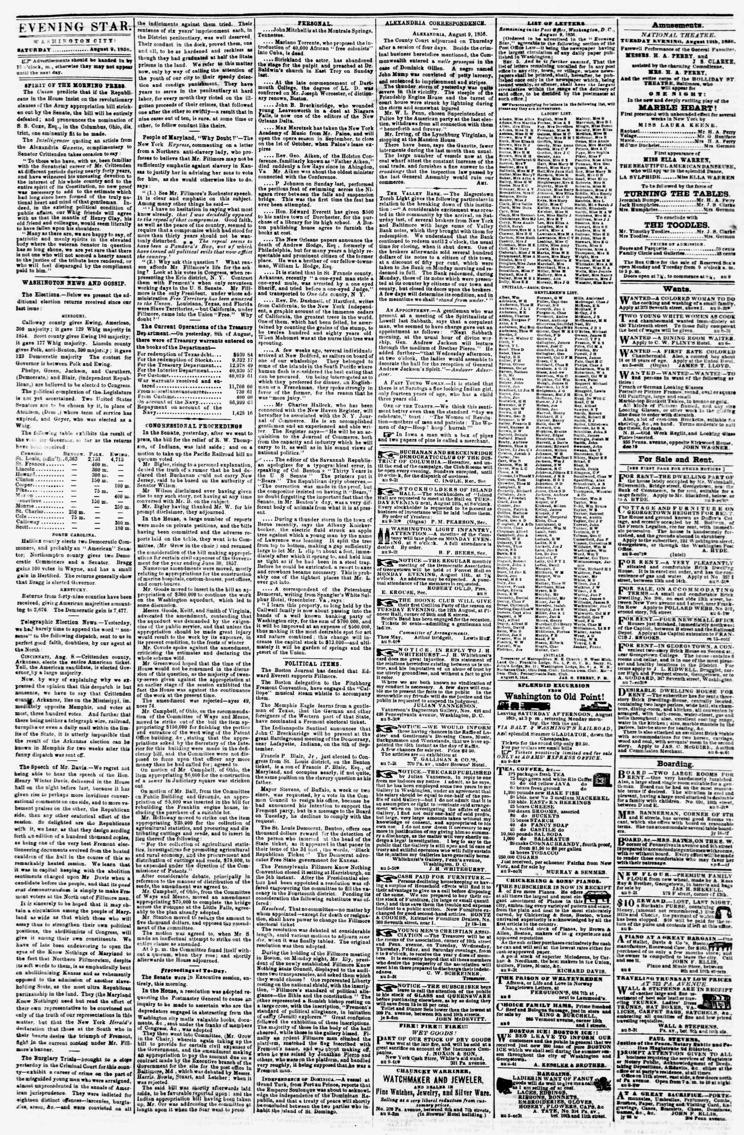 Newspaper of Evening Star dated August 9, 1856 Page 2