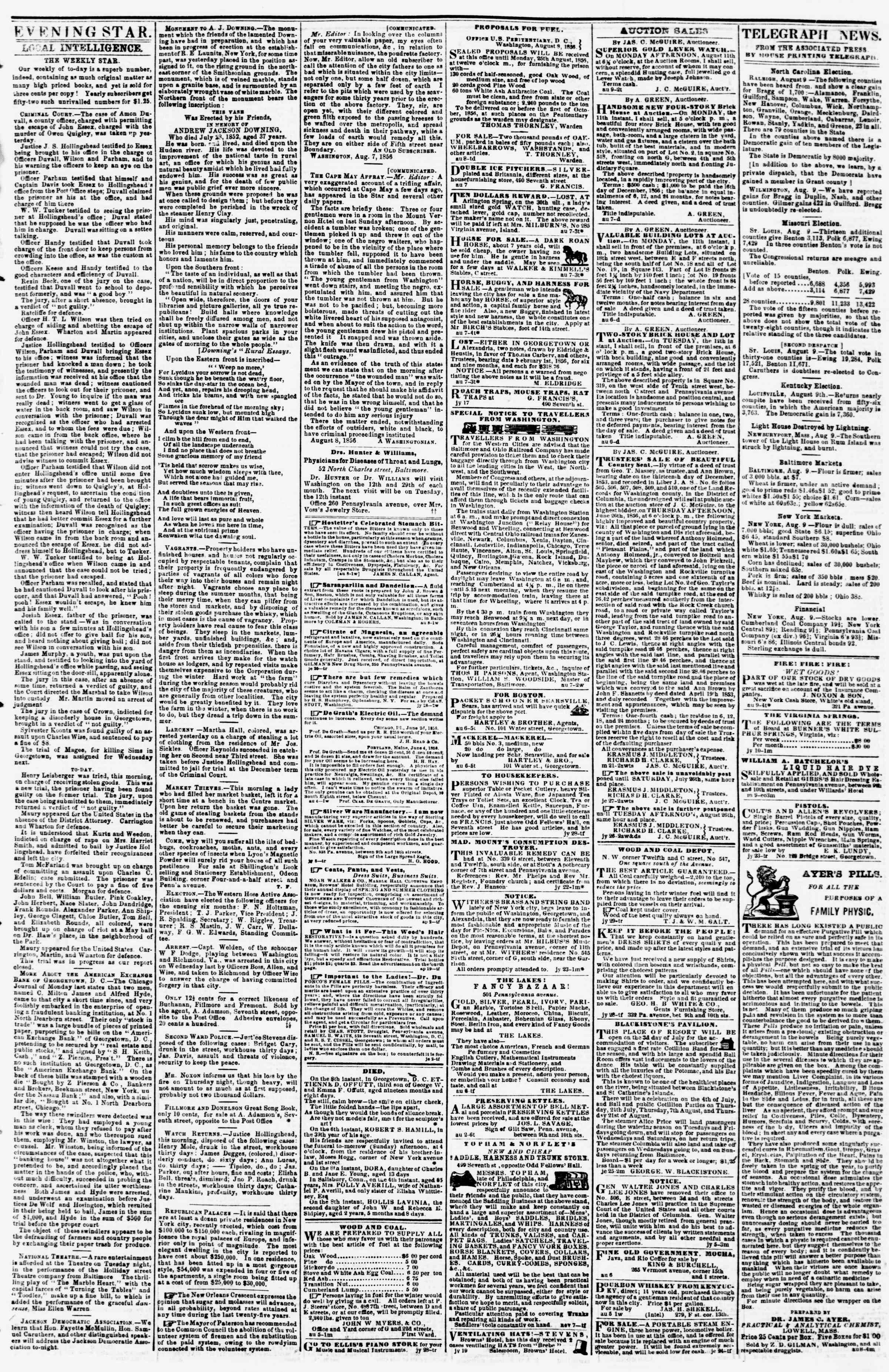 Newspaper of Evening Star dated August 9, 1856 Page 3