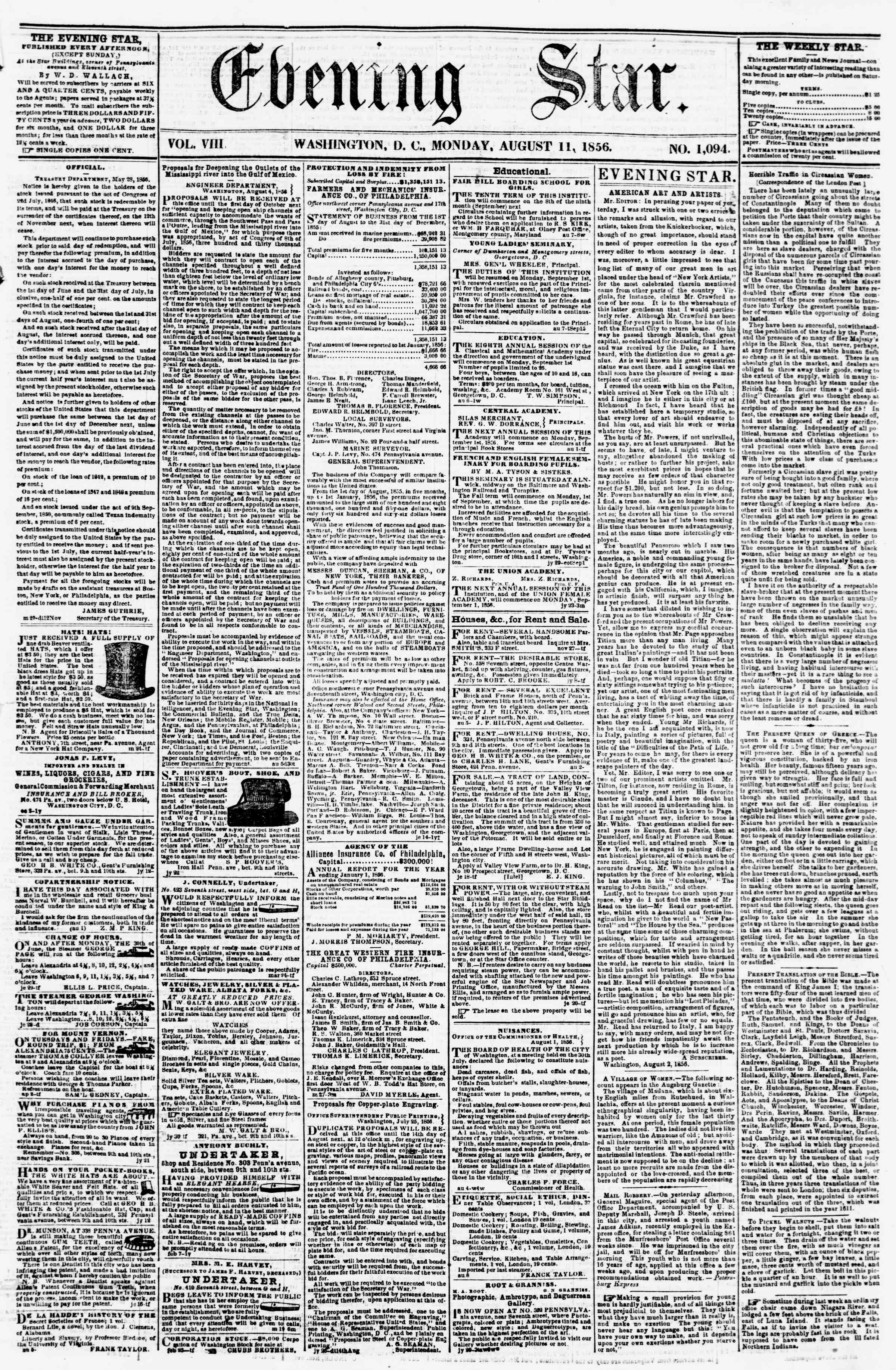Newspaper of Evening Star dated August 11, 1856 Page 1