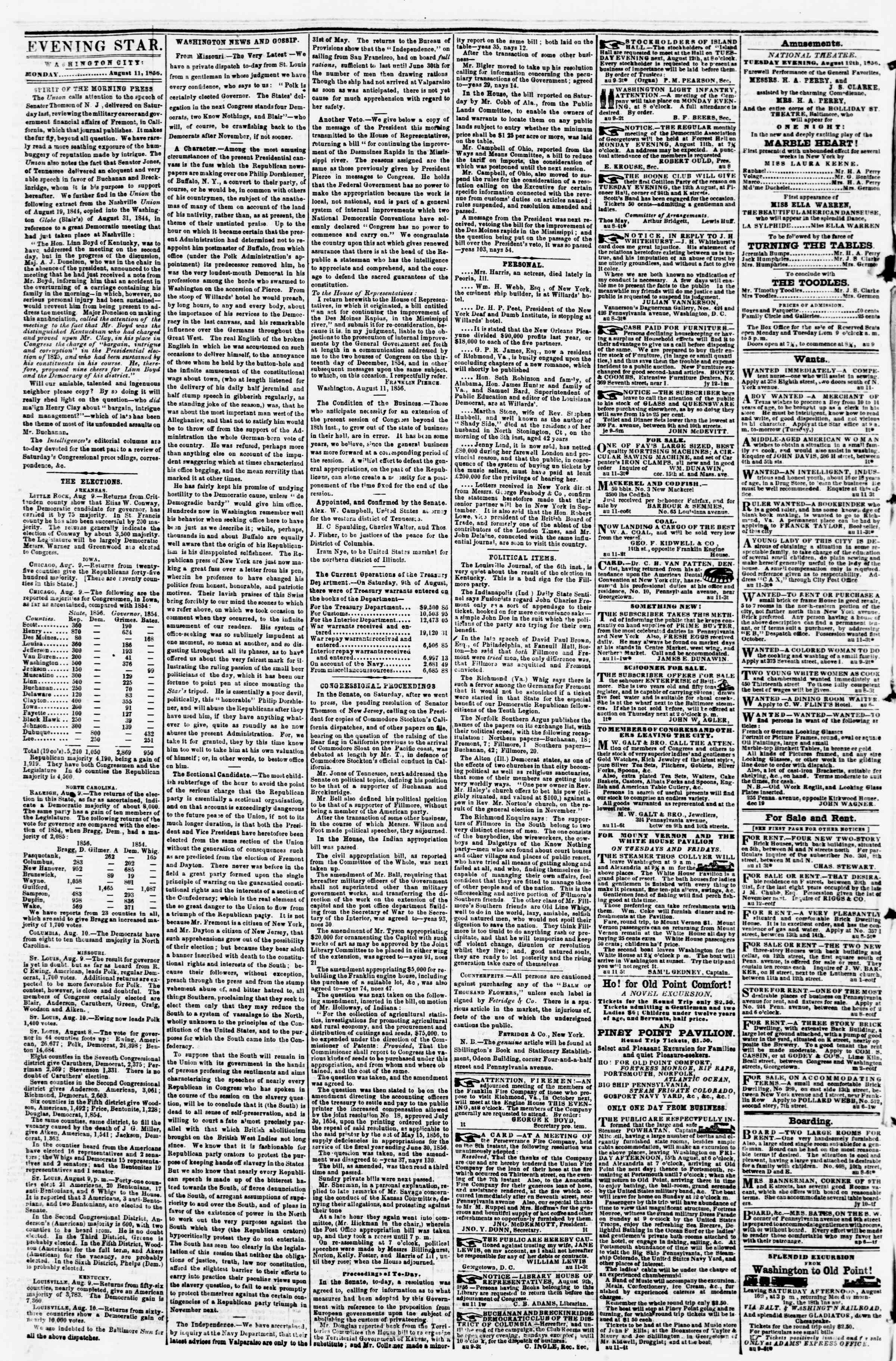 Newspaper of Evening Star dated August 11, 1856 Page 2