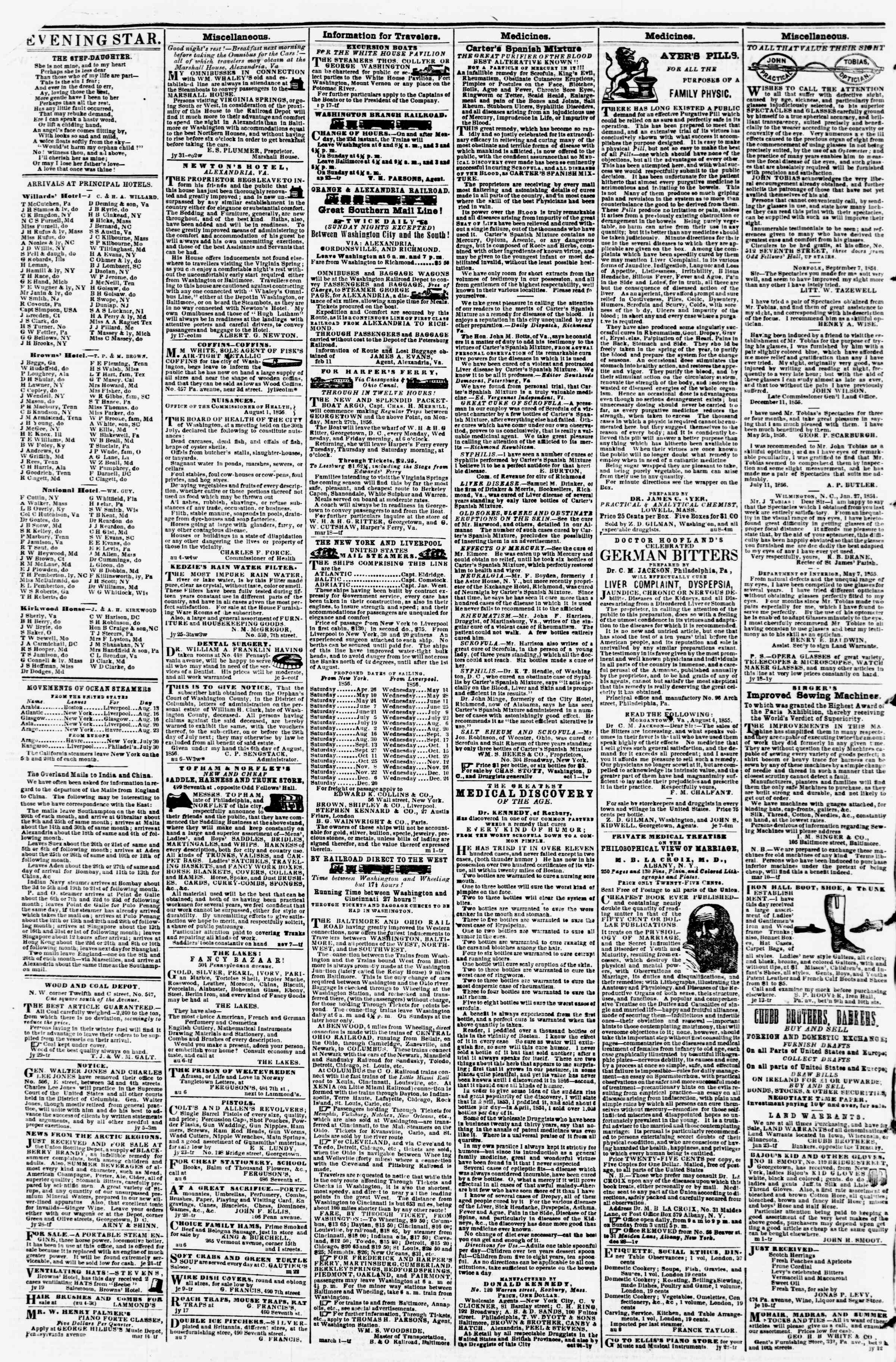 Newspaper of Evening Star dated August 13, 1856 Page 4