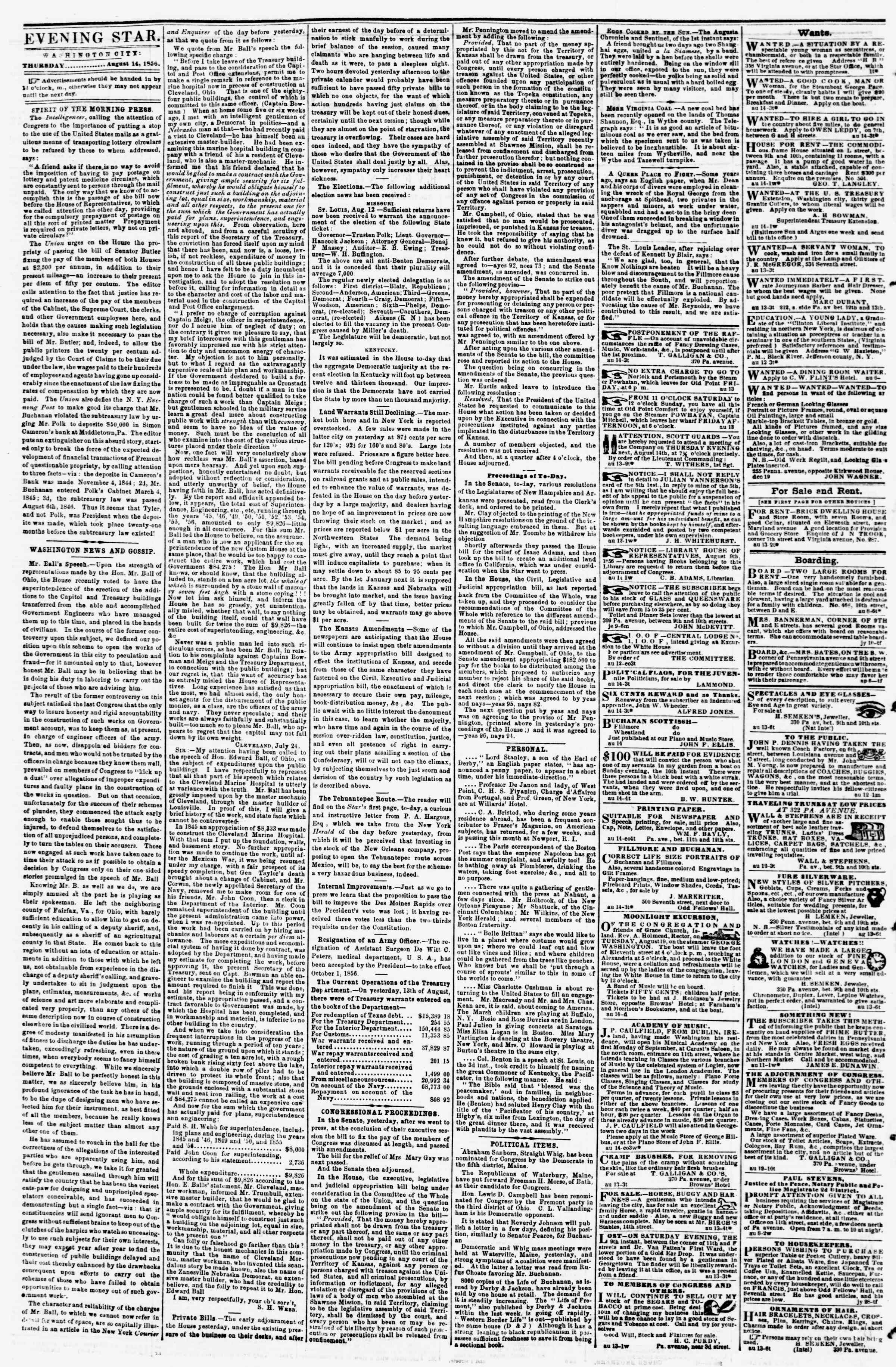Newspaper of Evening Star dated August 14, 1856 Page 2