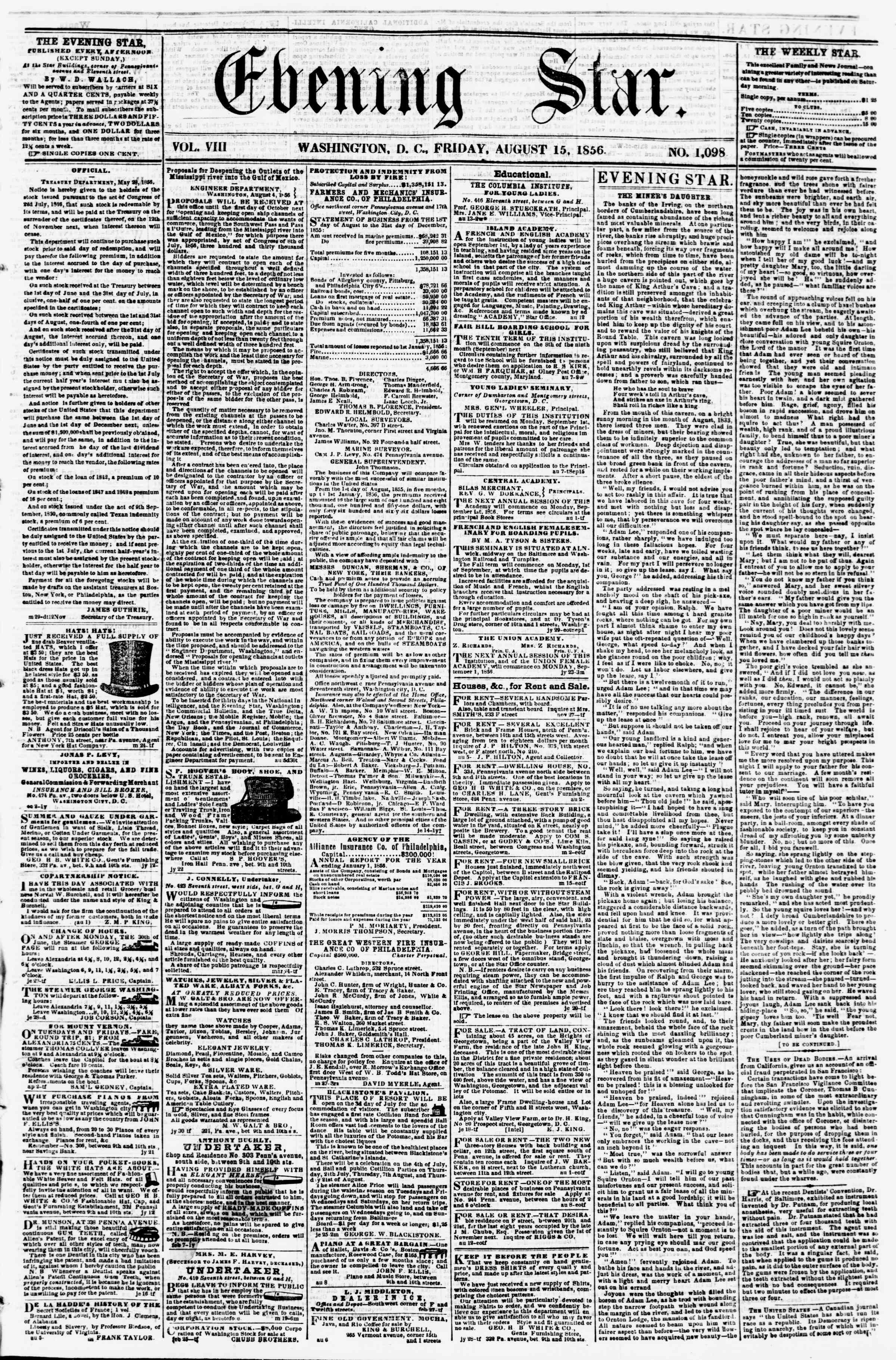 Newspaper of Evening Star dated August 15, 1856 Page 1