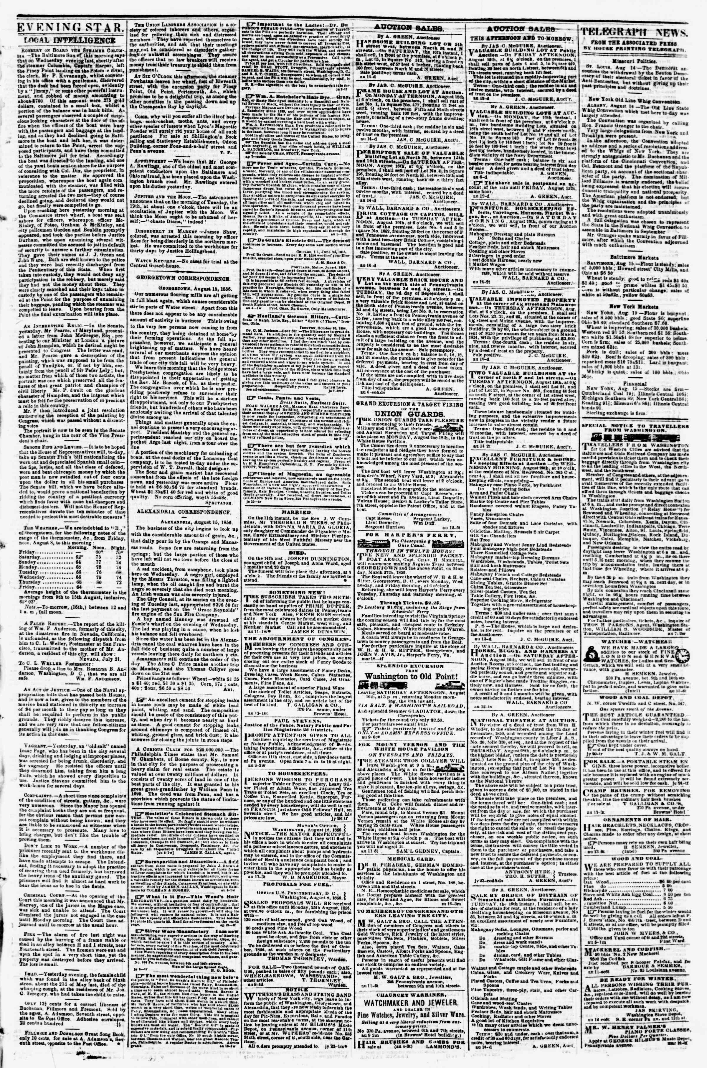 Newspaper of Evening Star dated August 15, 1856 Page 3