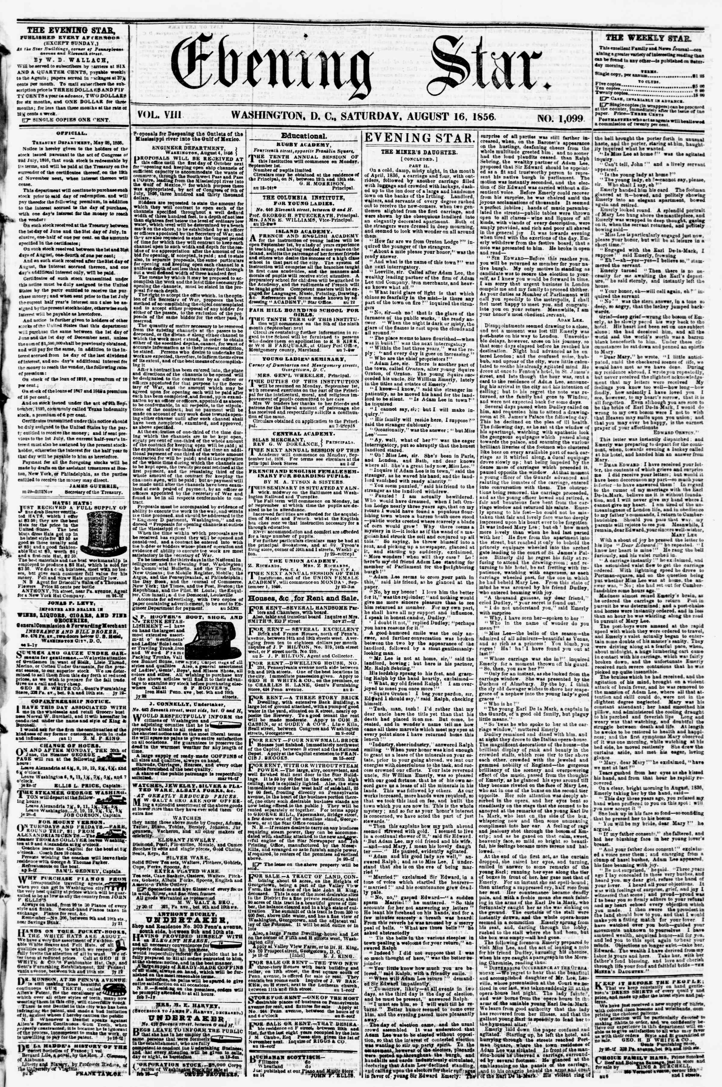 Newspaper of Evening Star dated August 16, 1856 Page 1