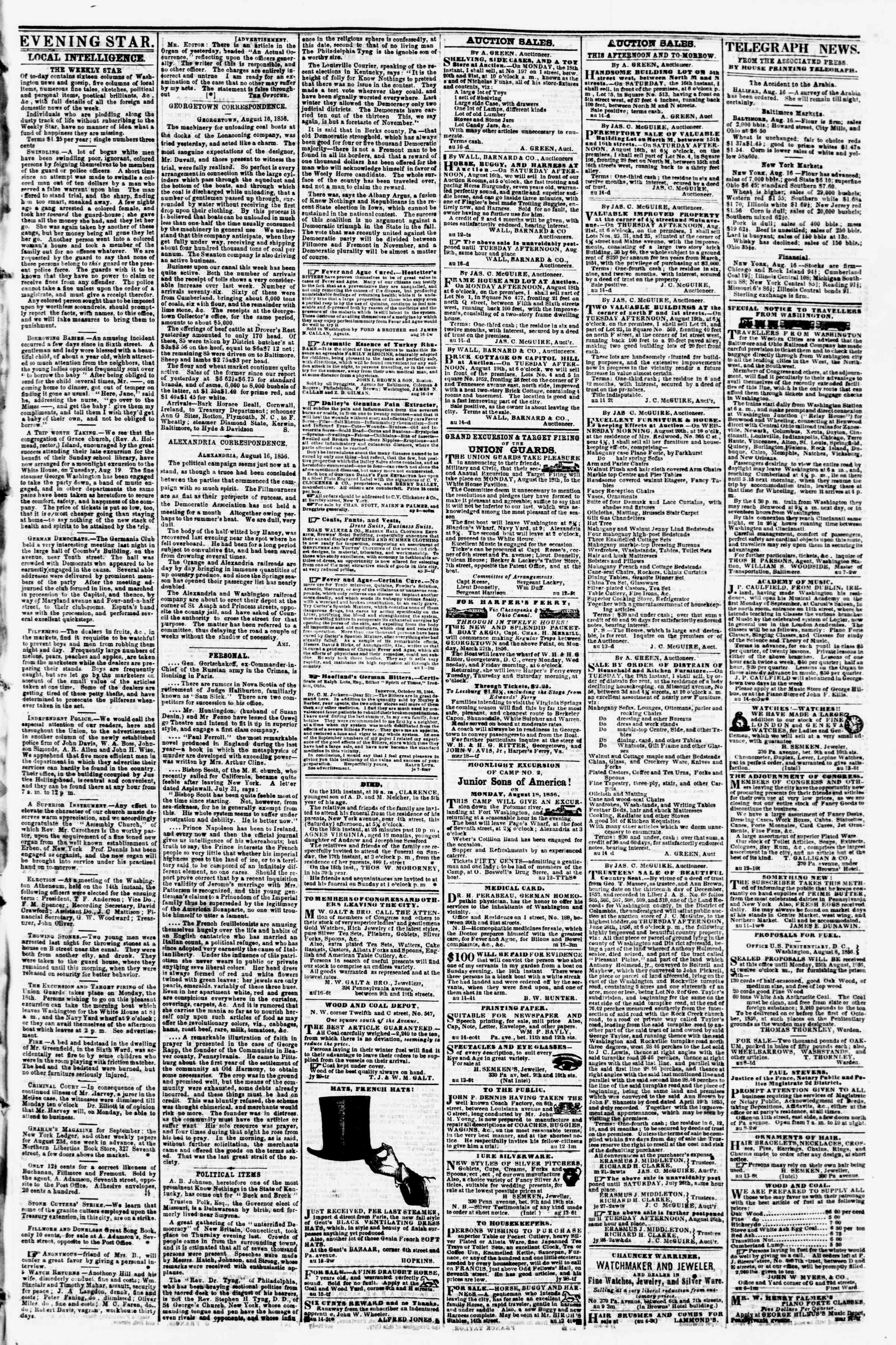 Newspaper of Evening Star dated August 16, 1856 Page 3