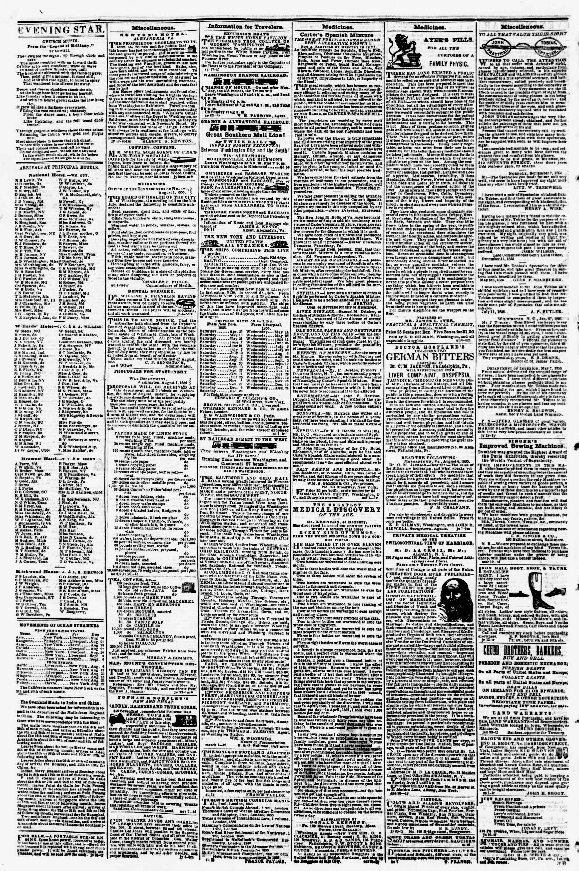 Newspaper of Evening Star dated August 16, 1856 Page 4