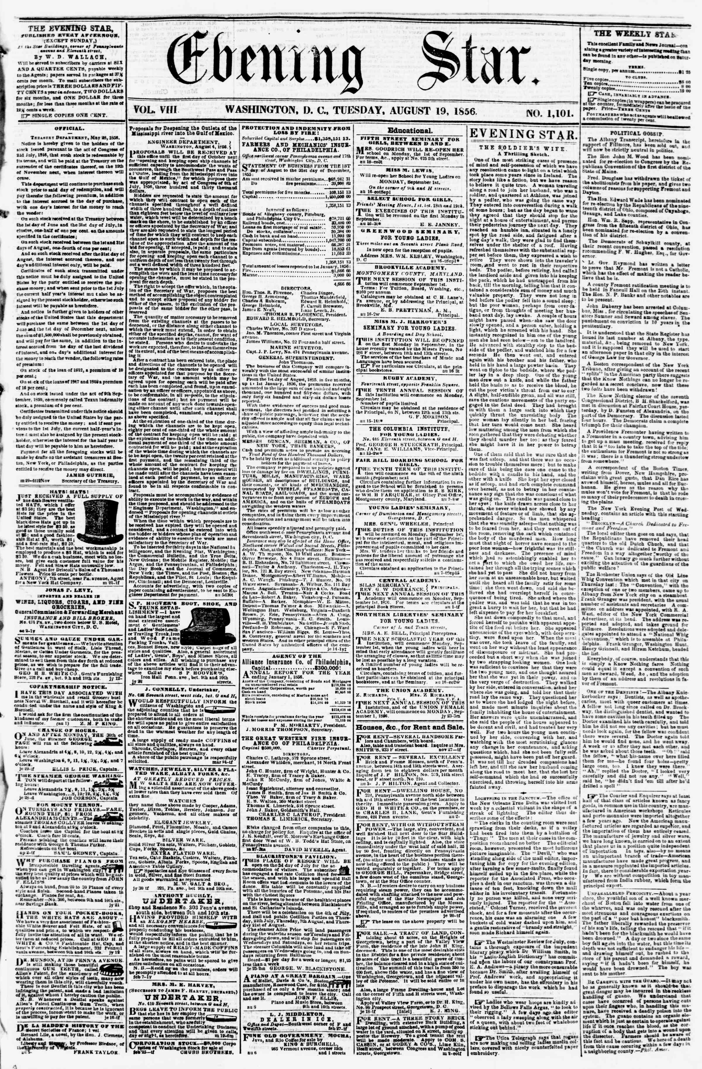 Newspaper of Evening Star dated August 19, 1856 Page 1
