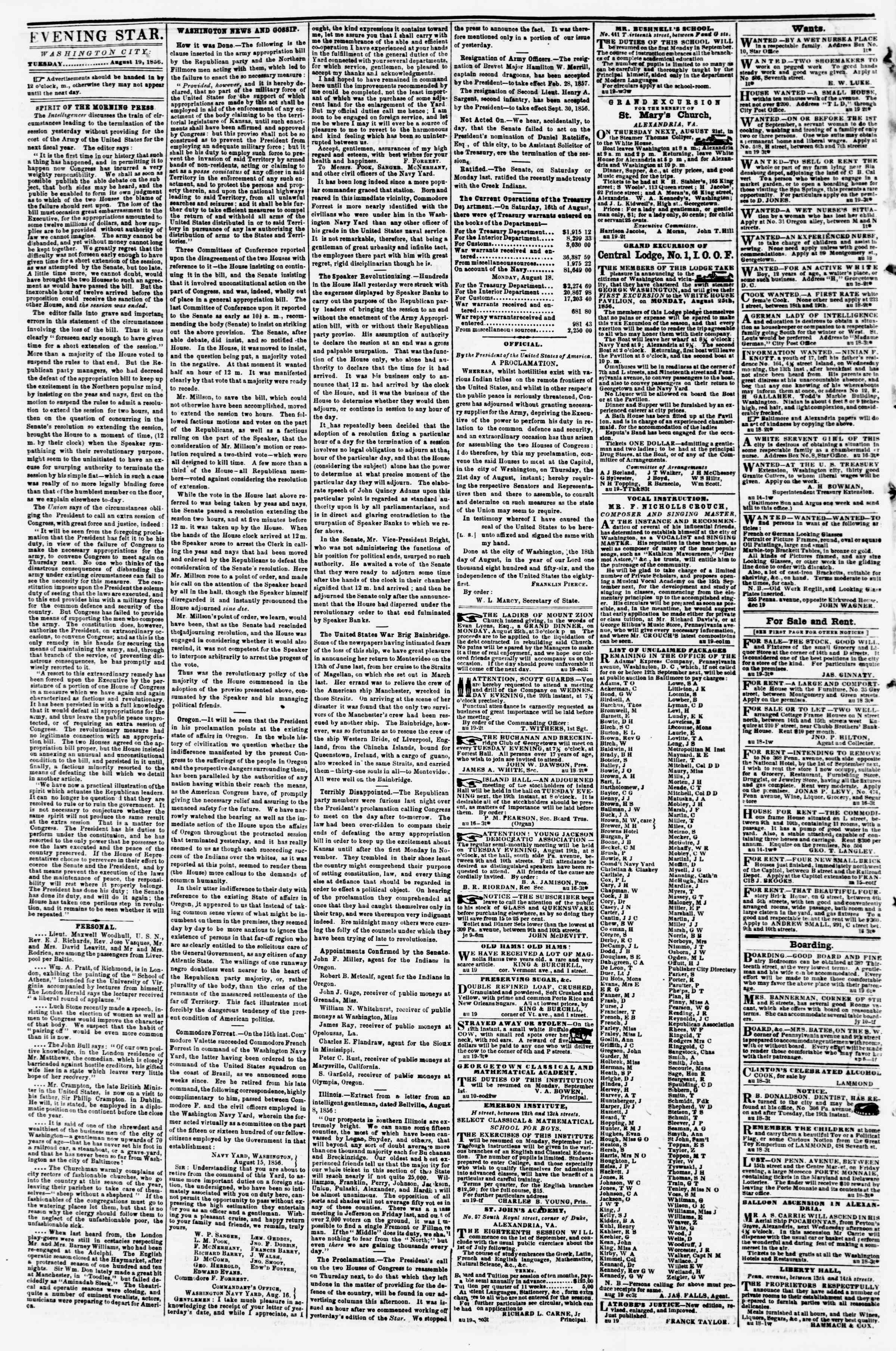 Newspaper of Evening Star dated August 19, 1856 Page 2