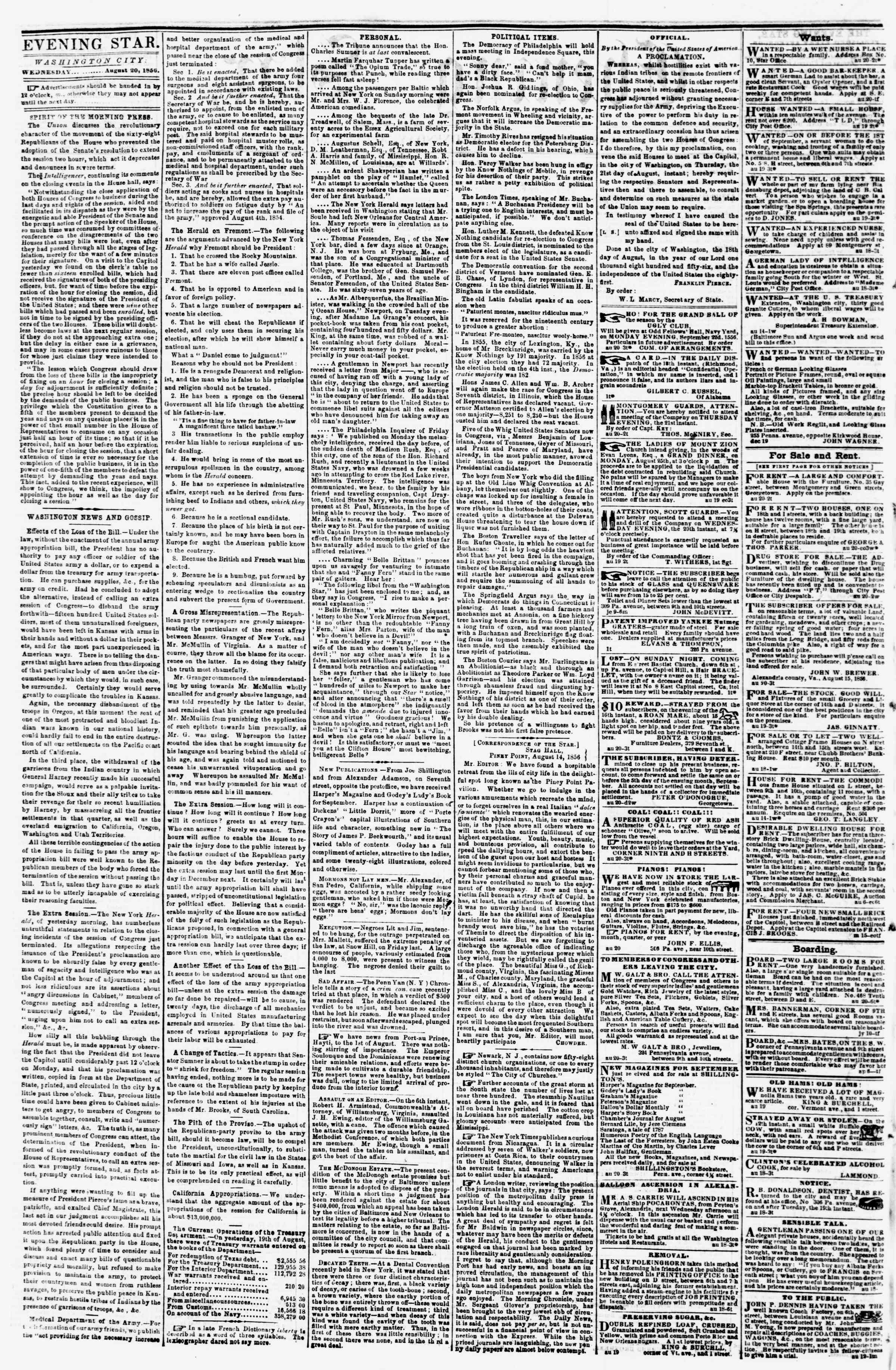 Newspaper of Evening Star dated August 20, 1856 Page 2