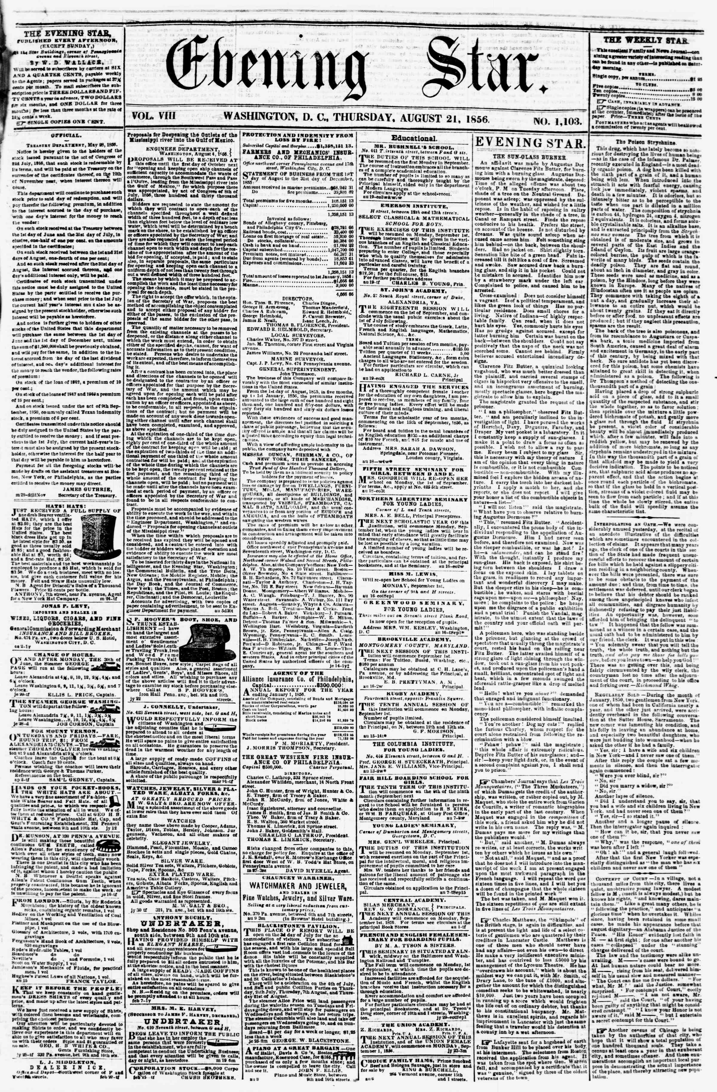 Newspaper of Evening Star dated August 21, 1856 Page 1