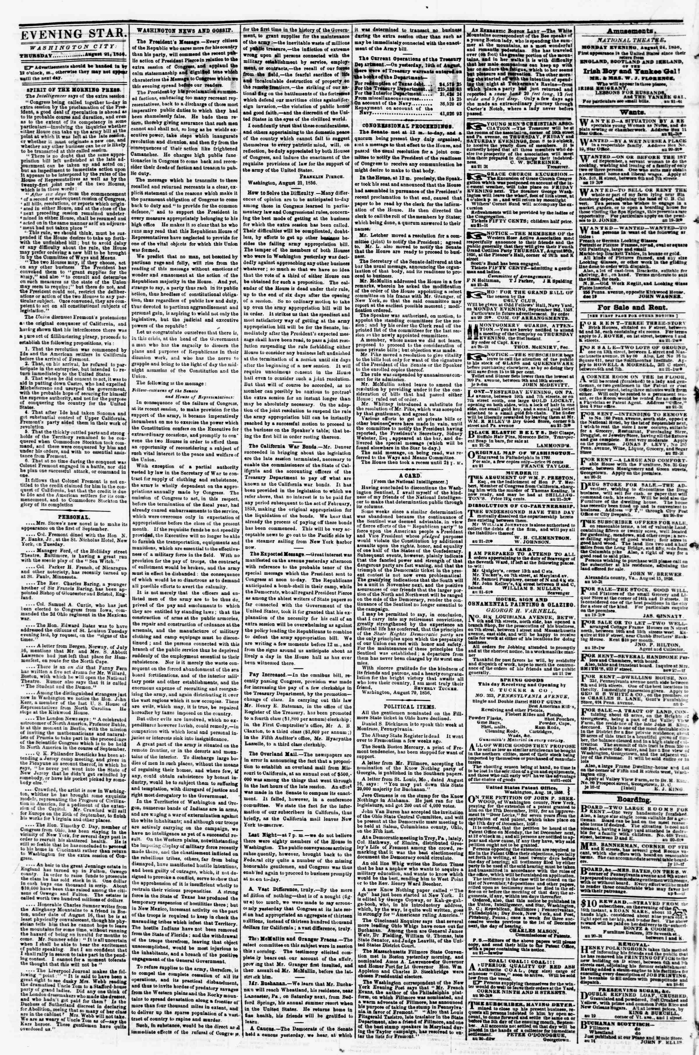 Newspaper of Evening Star dated August 21, 1856 Page 2