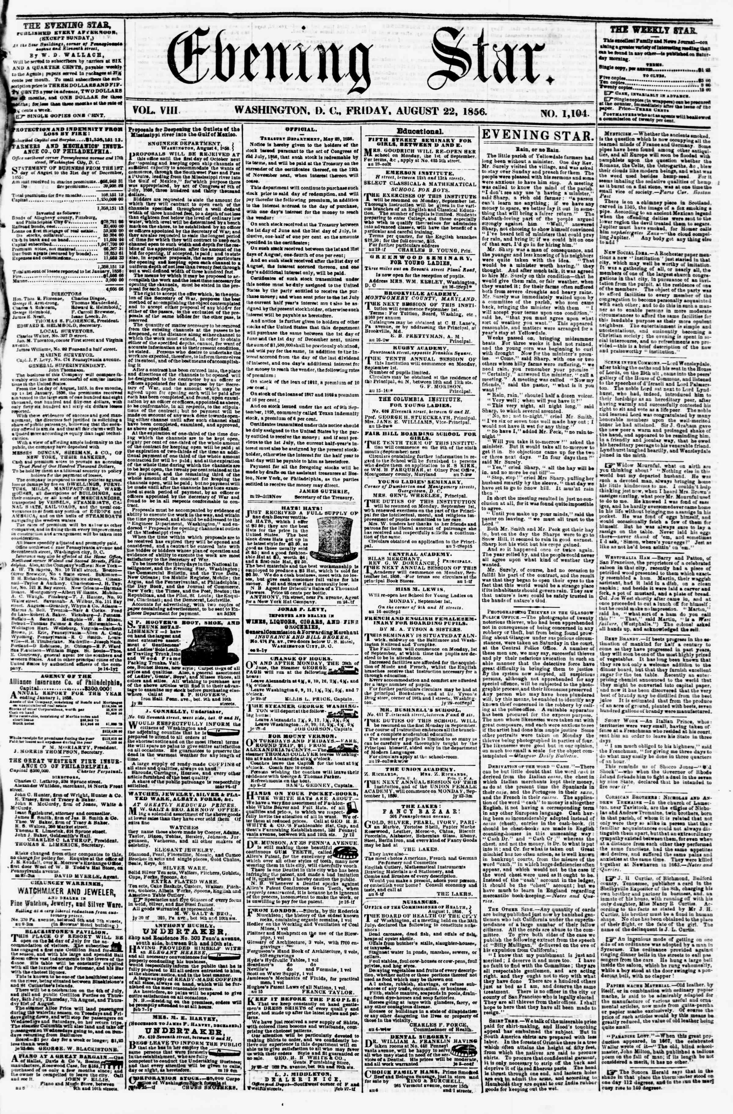 Newspaper of Evening Star dated August 22, 1856 Page 1
