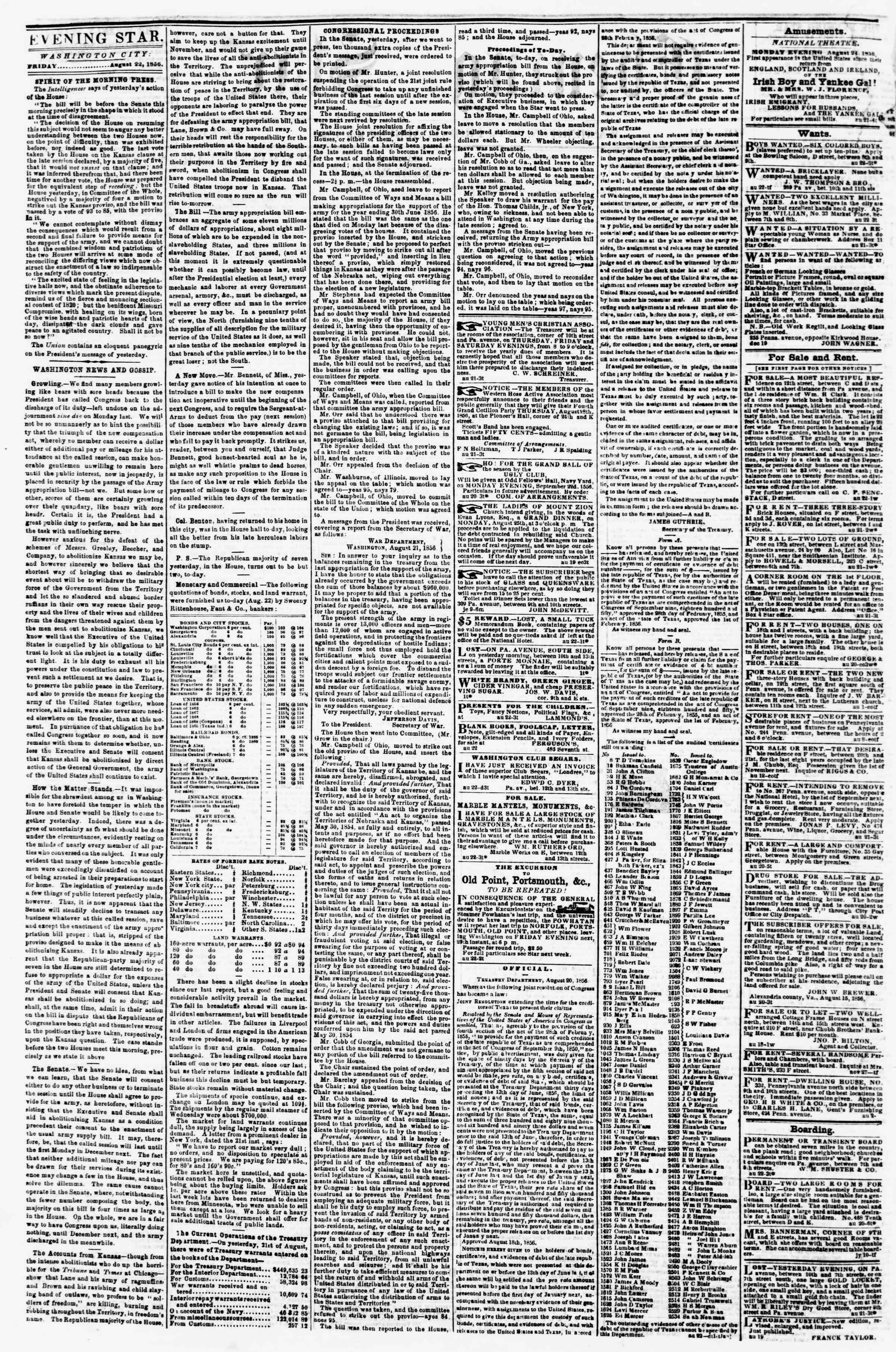 Newspaper of Evening Star dated August 22, 1856 Page 2