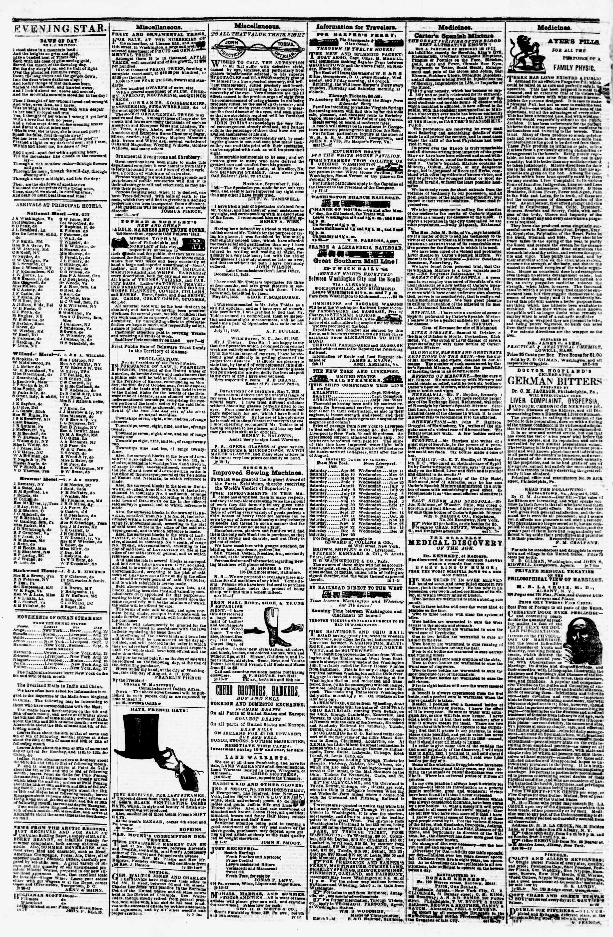 Newspaper of Evening Star dated August 22, 1856 Page 4